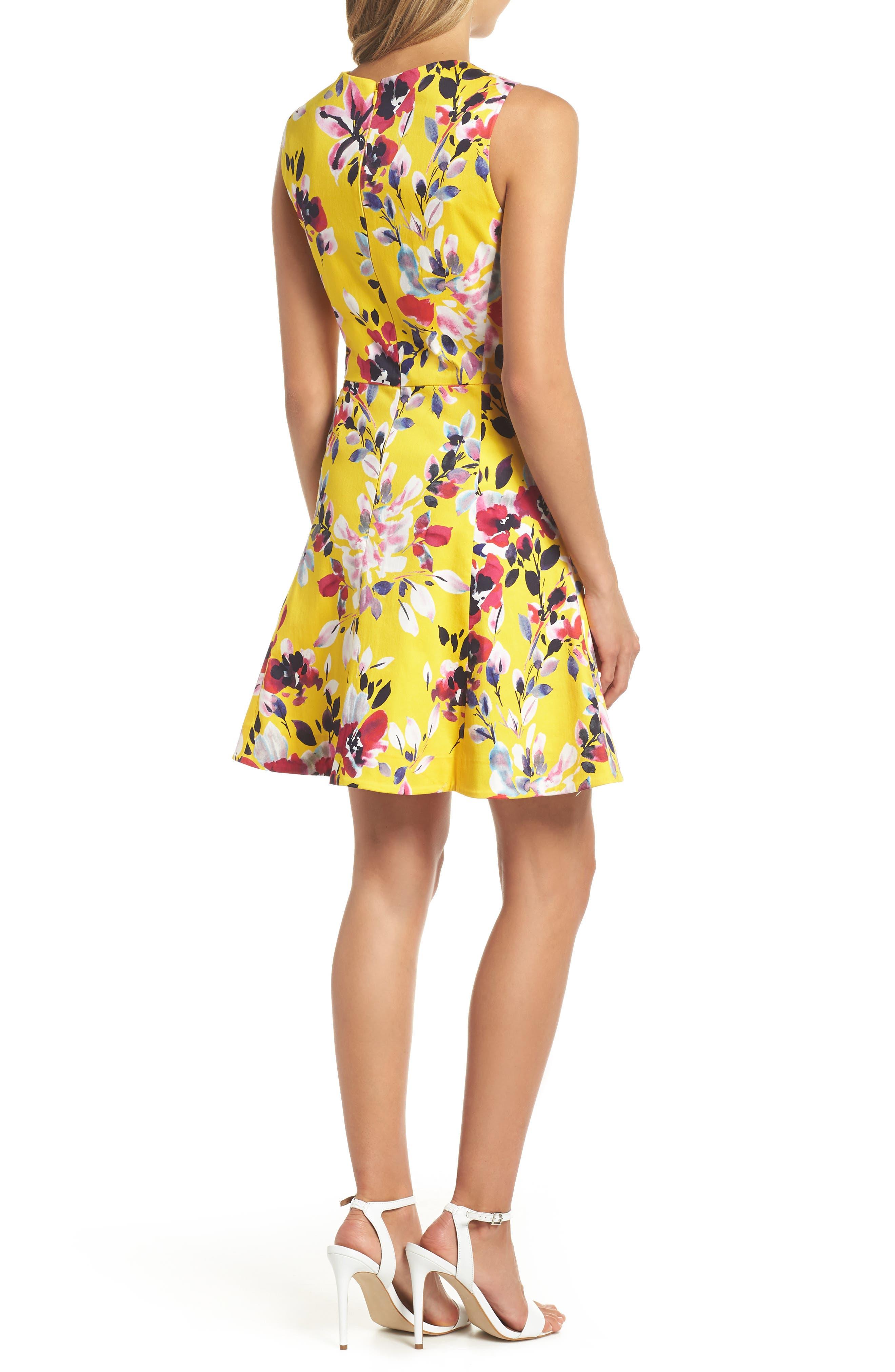 Linosa Fit & Flare Dress,                             Alternate thumbnail 2, color,                             CITRUS