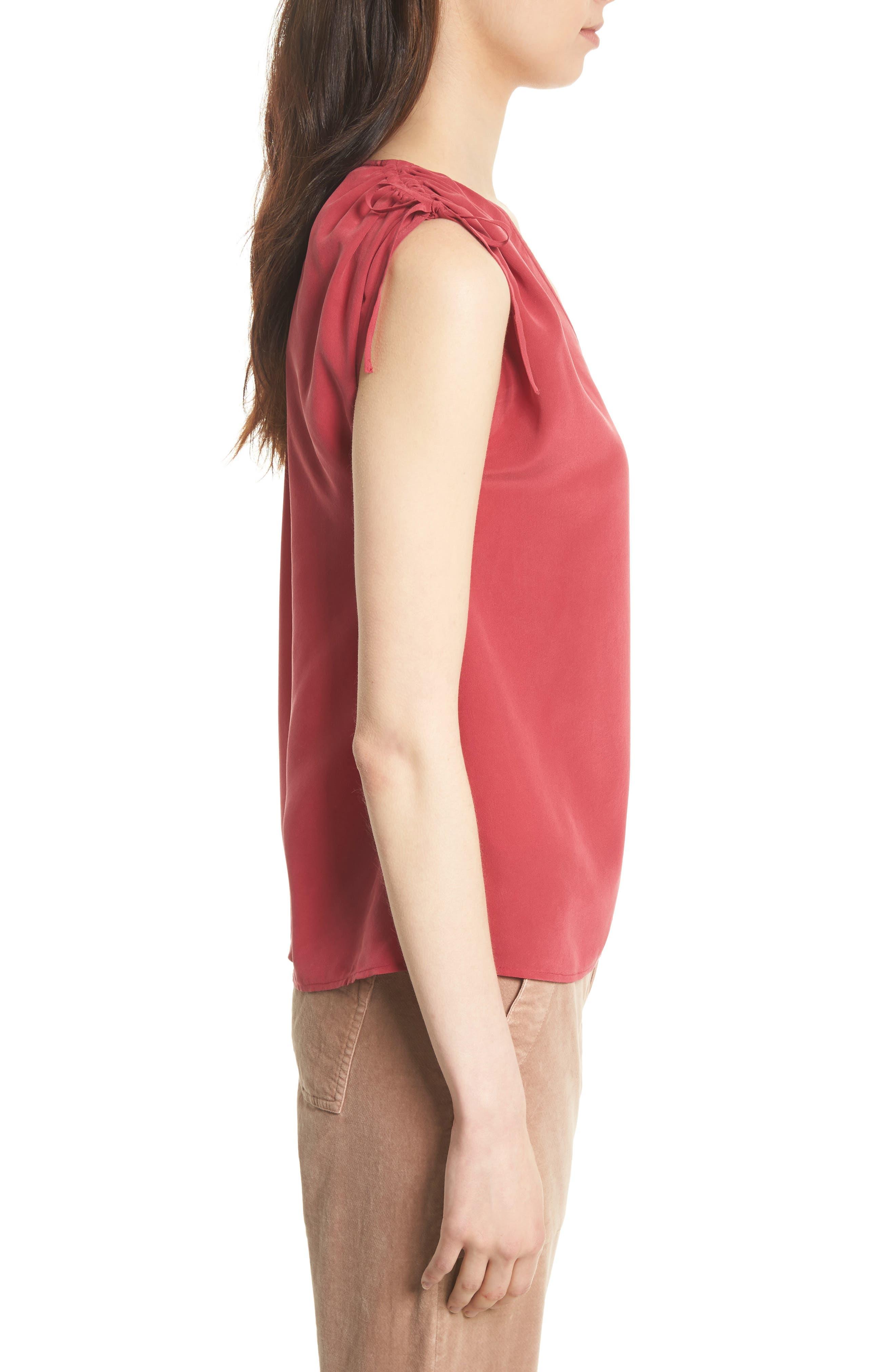 Alisha Tie Shoulder Silk Top,                             Alternate thumbnail 5, color,