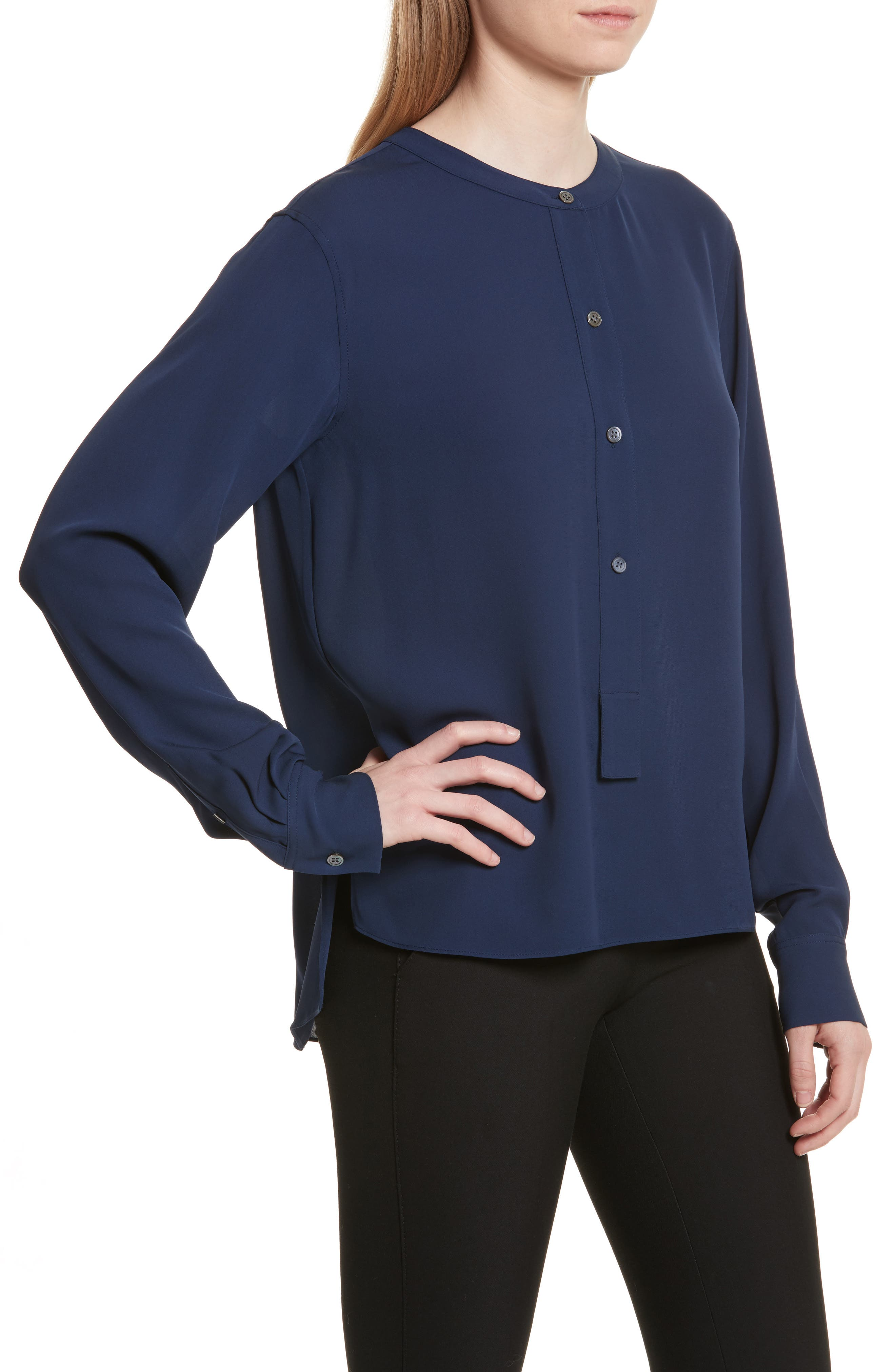 Isalva Classic Georgette Silk Blouse,                             Alternate thumbnail 11, color,