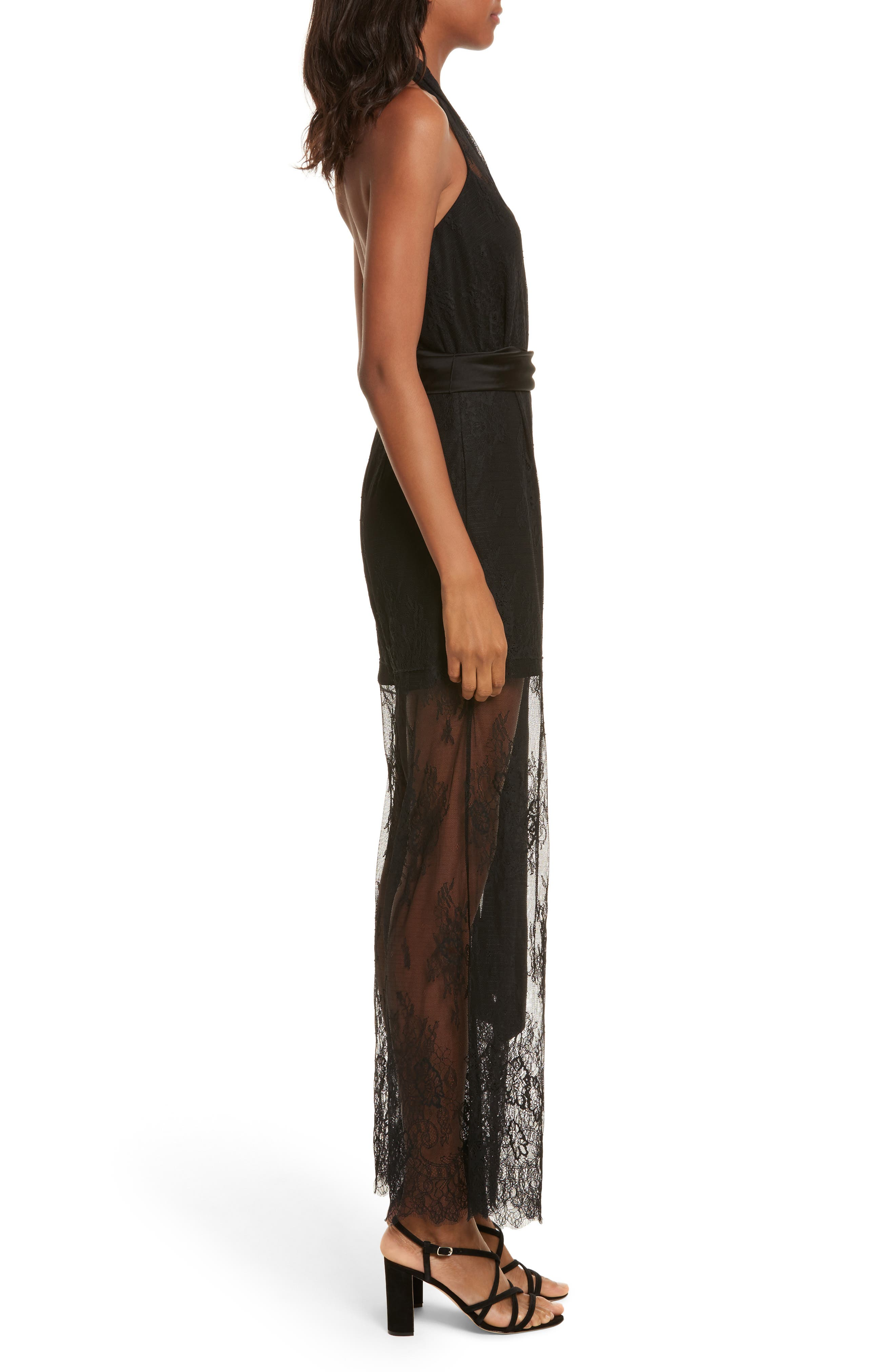 Diane von Furstenberg Halter Neck Lace Jumpsuit,                             Alternate thumbnail 3, color,                             001
