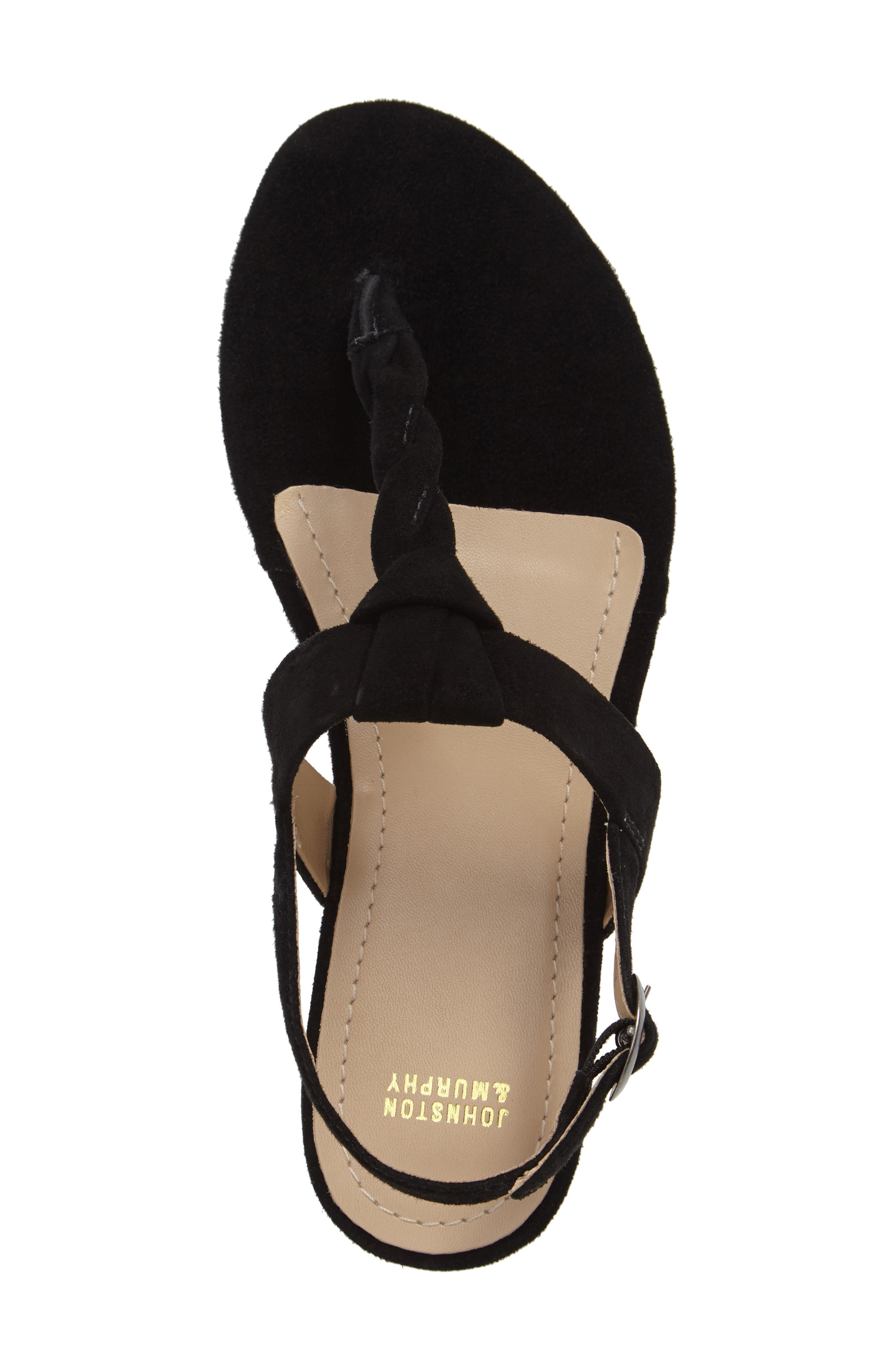 Holly Twisted T-Strap Sandal,                             Alternate thumbnail 5, color,                             001