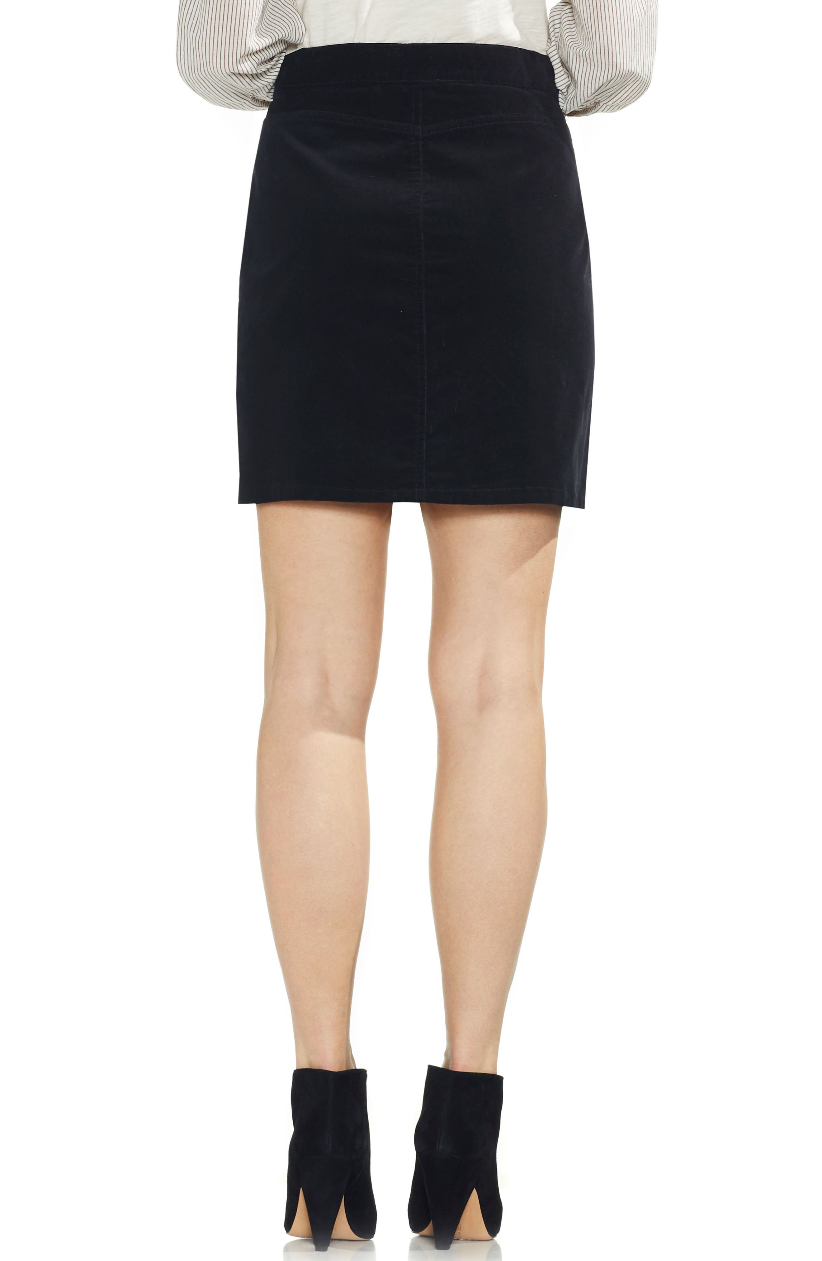 VINCE CAMUTO,                             Washed Corduroy Zip Front Miniskirt,                             Alternate thumbnail 2, color,                             006