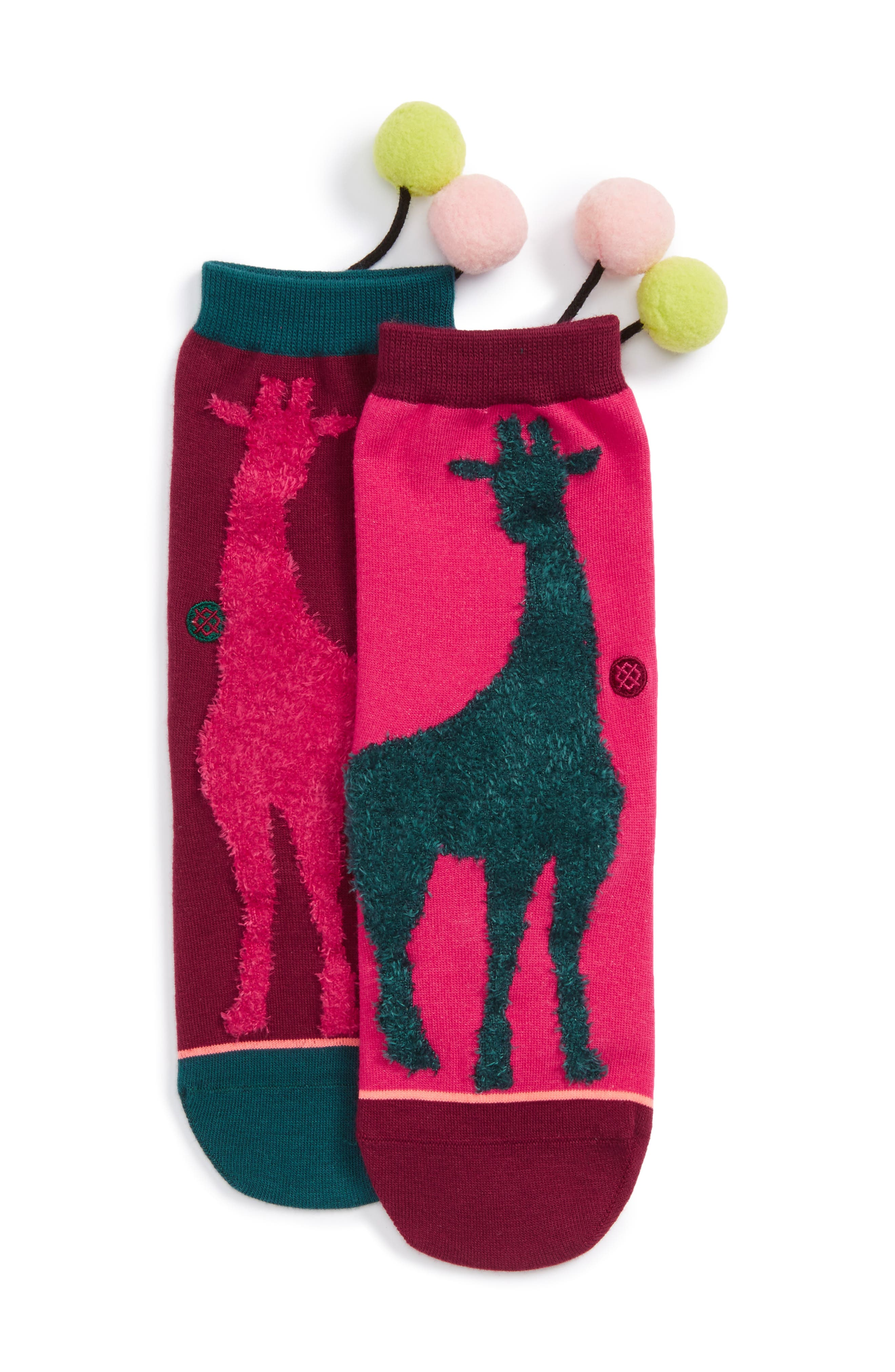 Raffa Giraffe Pom Socks,                             Main thumbnail 1, color,                             650