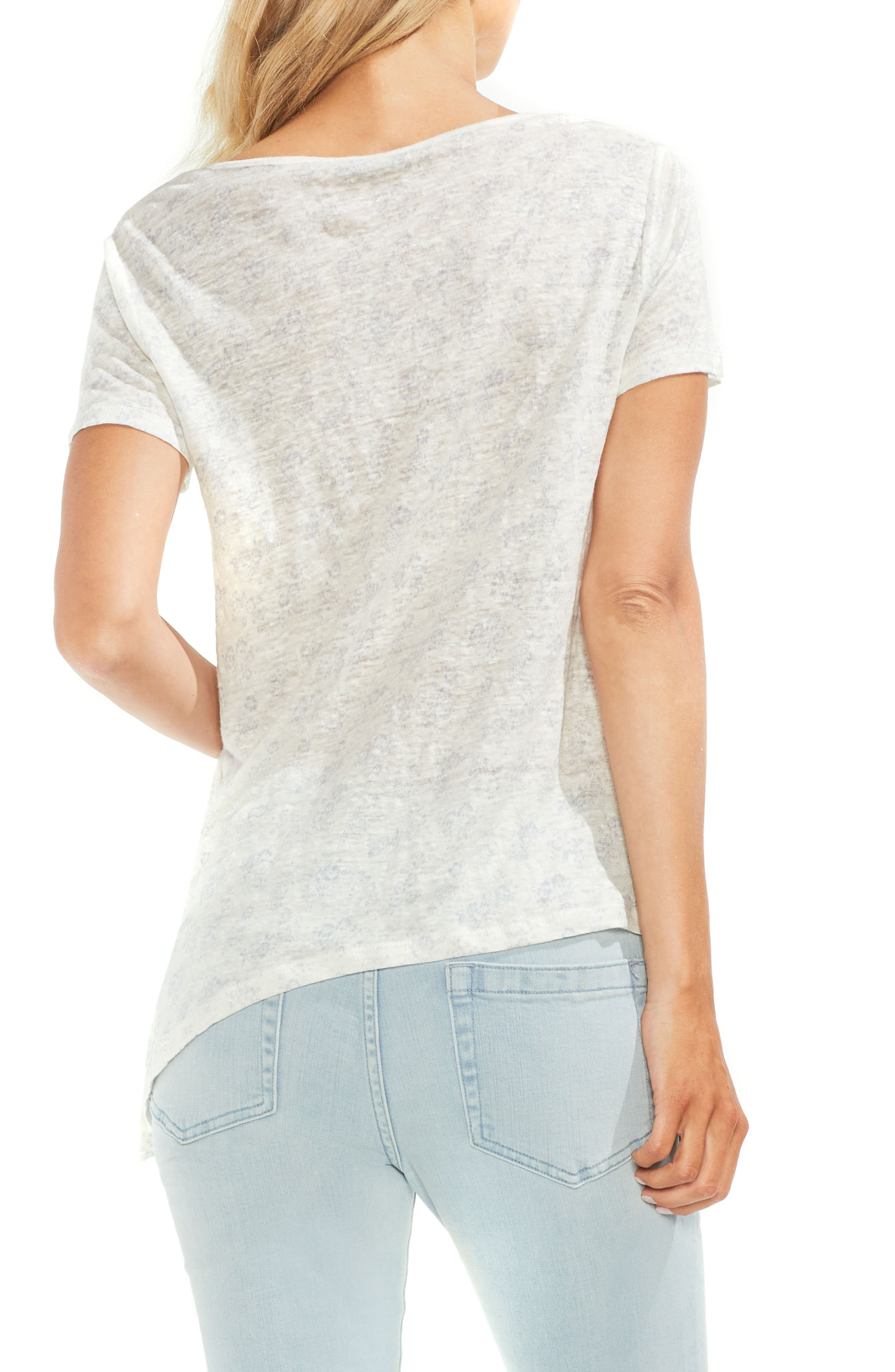 Diagonal Hem Linen Tee,                             Alternate thumbnail 2, color,                             103