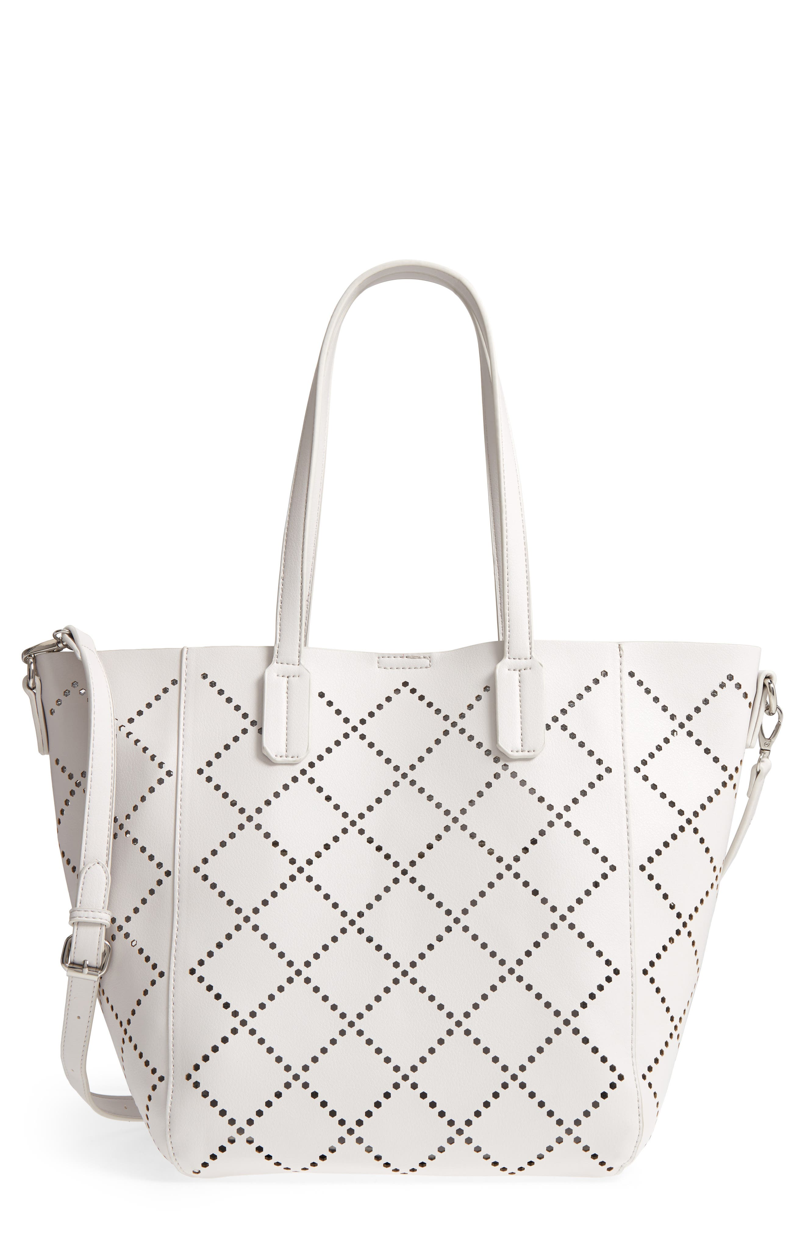Perforated Faux Leather Tote,                             Main thumbnail 1, color,