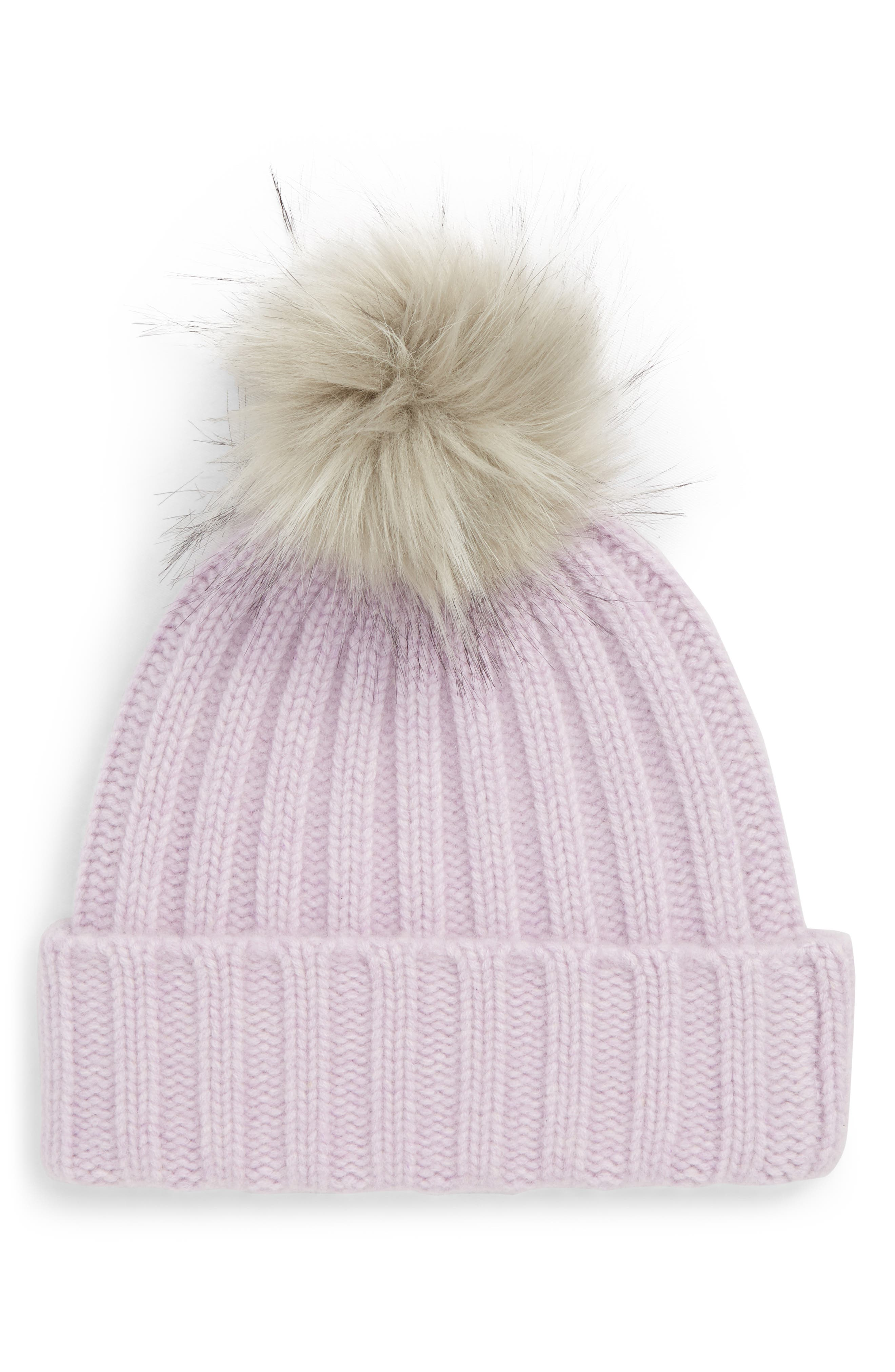 x Atlantic-Pacific Cashmere Beanie with Faux Fur Pom, Main, color, PURPLE SECRET