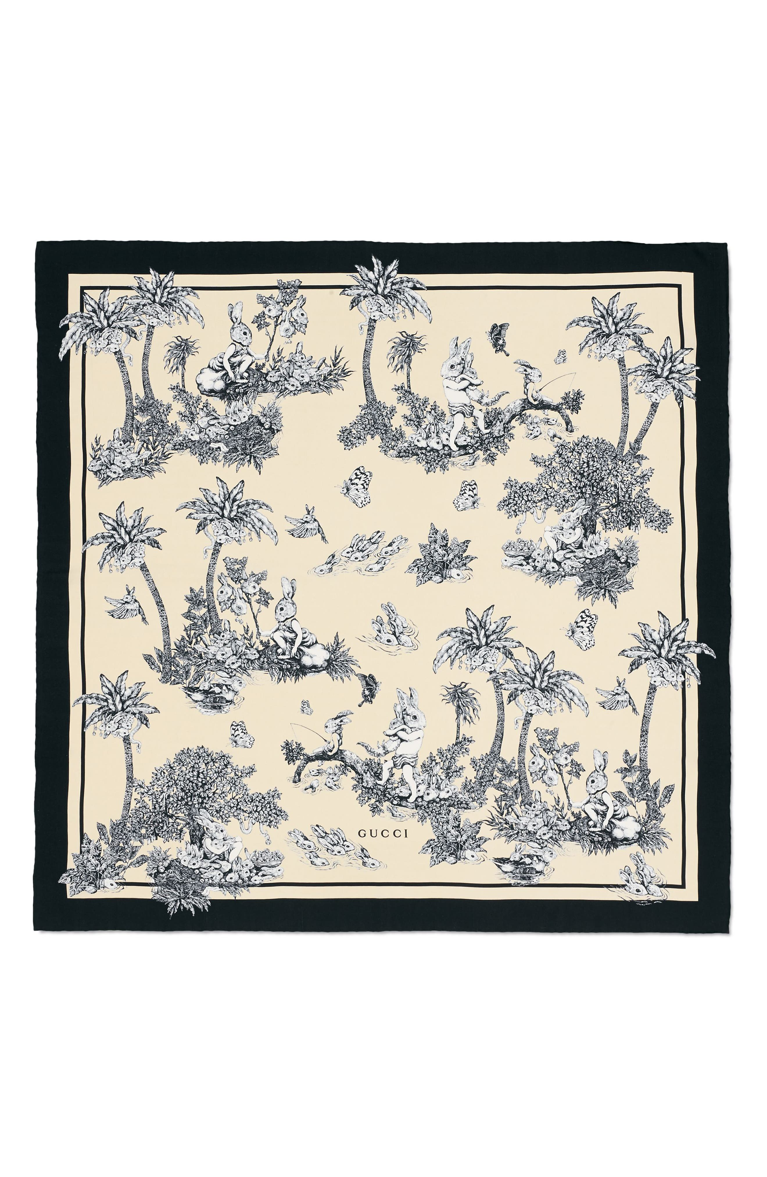 Lapin Rabbit Foulard Silk Twill Scarf,                             Main thumbnail 1, color,                             IVORY/ BLACK