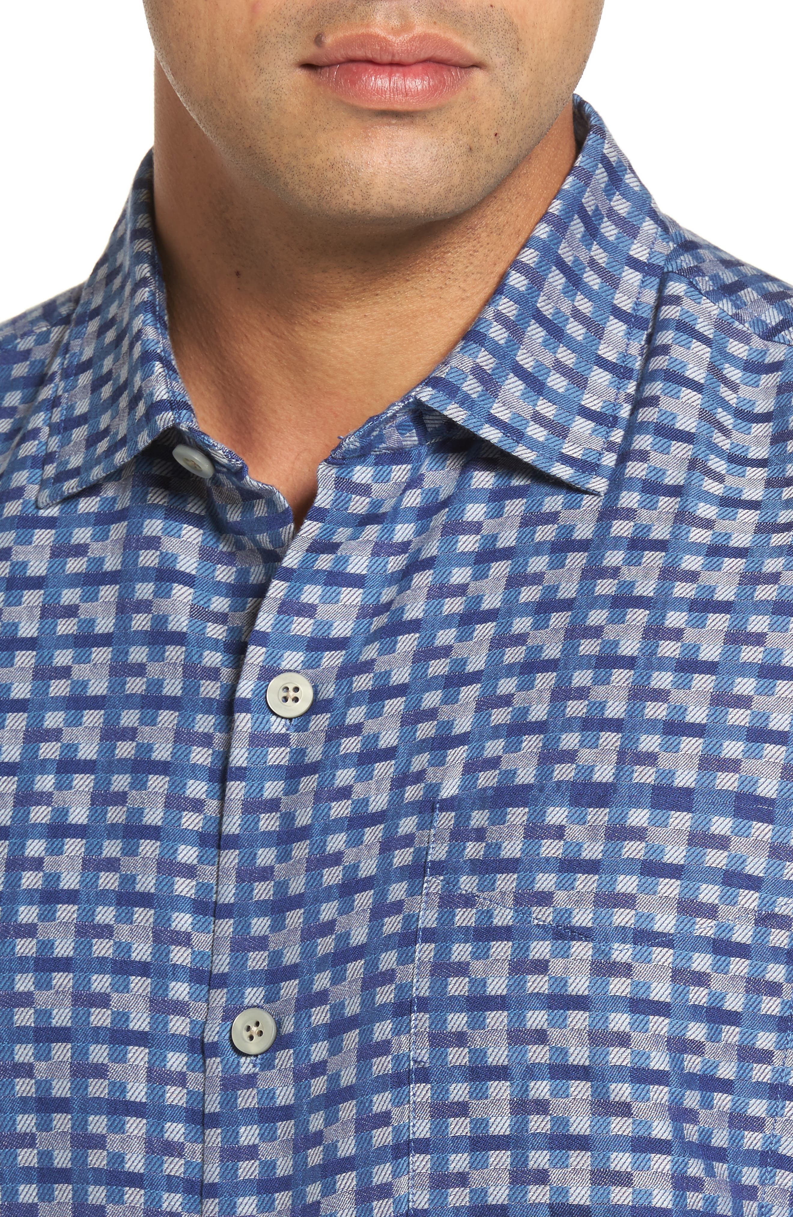 Moroccan Squares Standard Fit Silk Blend Camp Shirt,                             Alternate thumbnail 8, color,