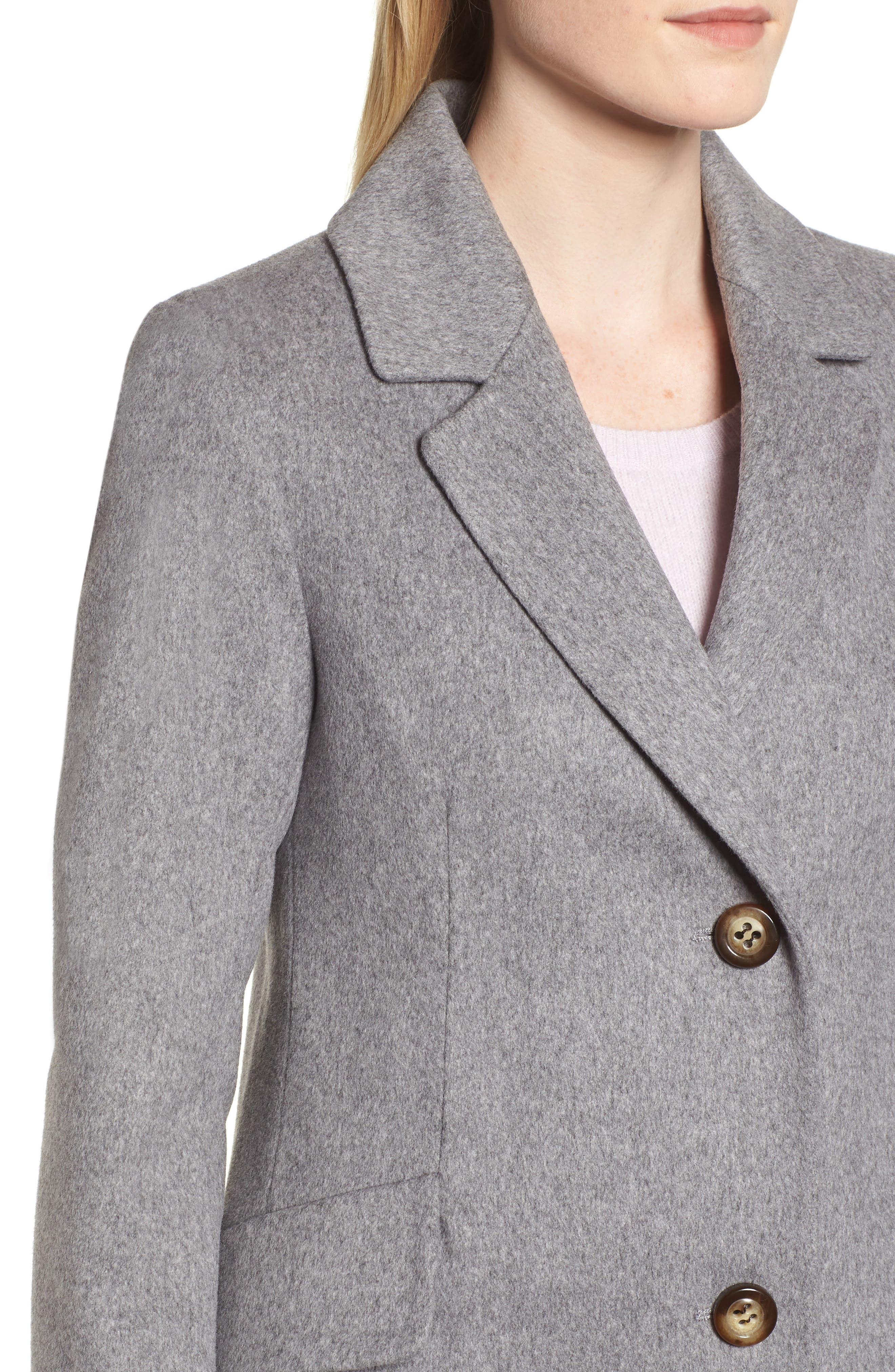 Notch Collar Wool Coat,                             Alternate thumbnail 4, color,                             GREY HEATHER