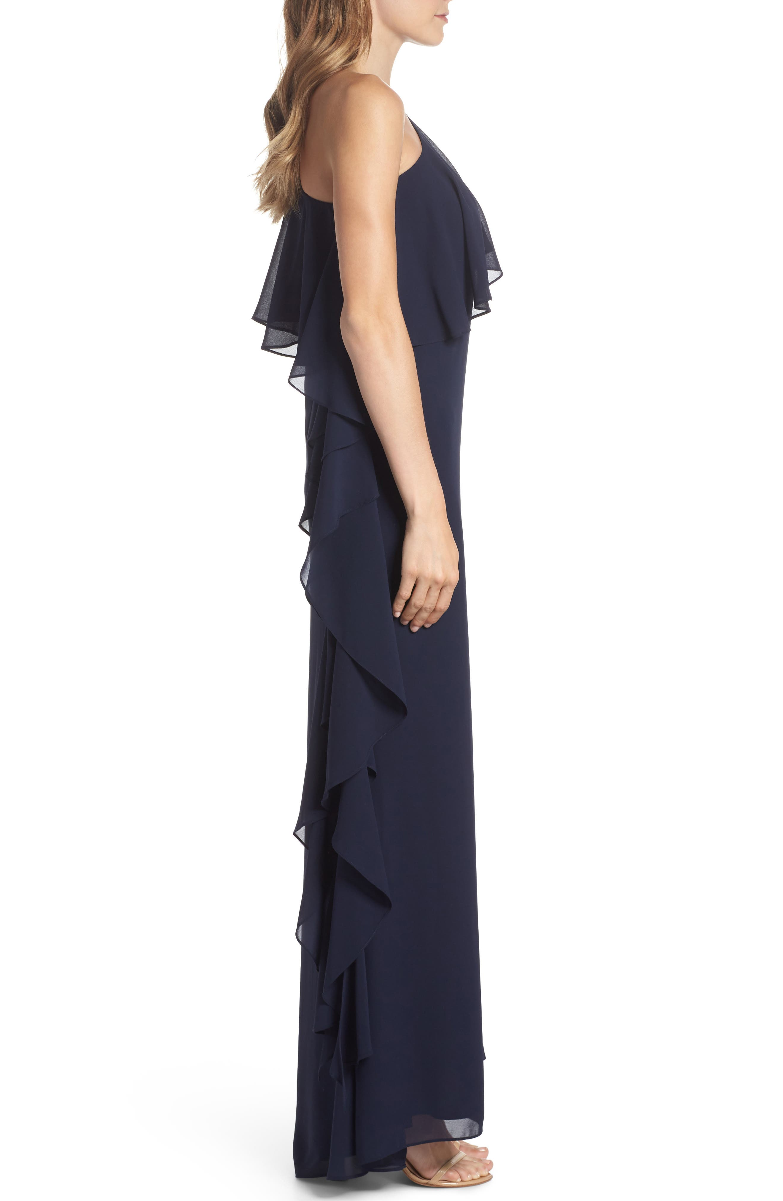 One-Shoulder Chiffon Gown,                             Alternate thumbnail 3, color,                             NAVY