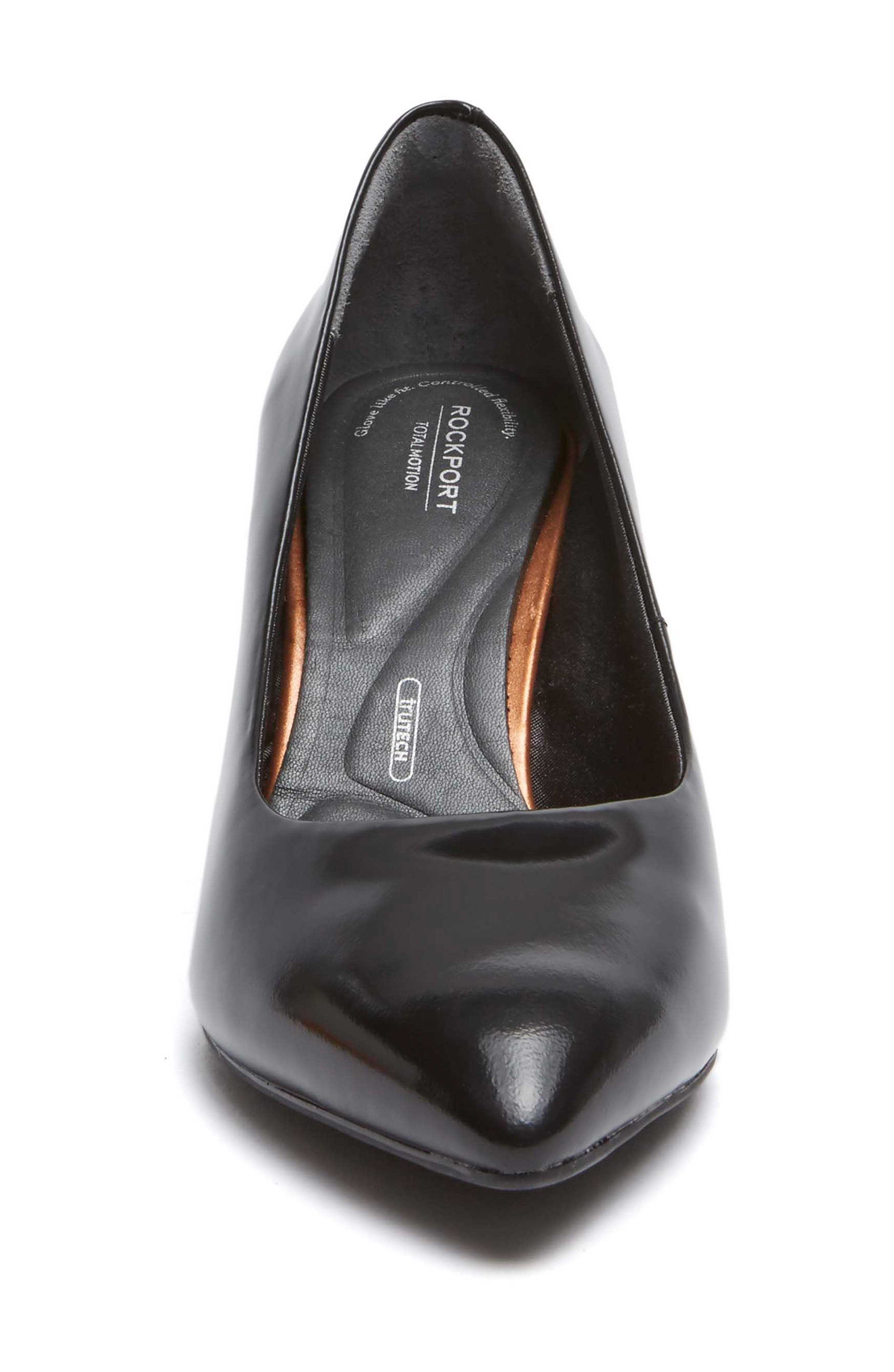 Total Motion Violina Luxe Pointy Toe Pump,                             Alternate thumbnail 4, color,                             BLACK PATENT LEATHER