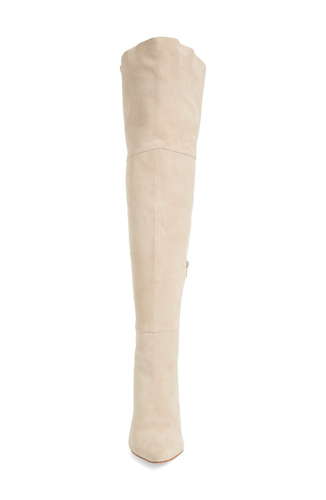'Saffron' Over the Knee Boot,                             Alternate thumbnail 4, color,                             GREY SUEDE