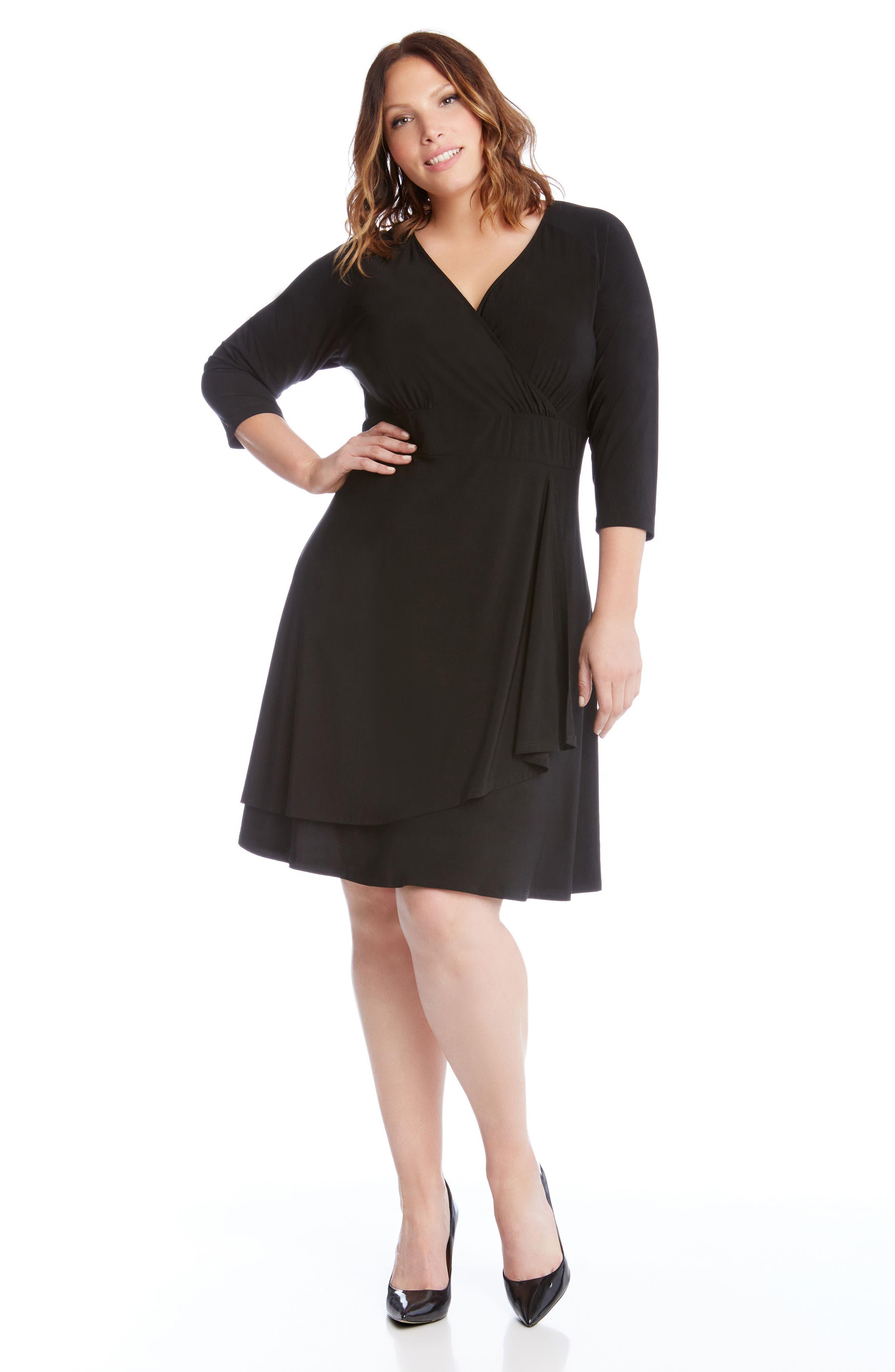 Jersey Cascade Faux Wrap Dress,                             Alternate thumbnail 4, color,                             001