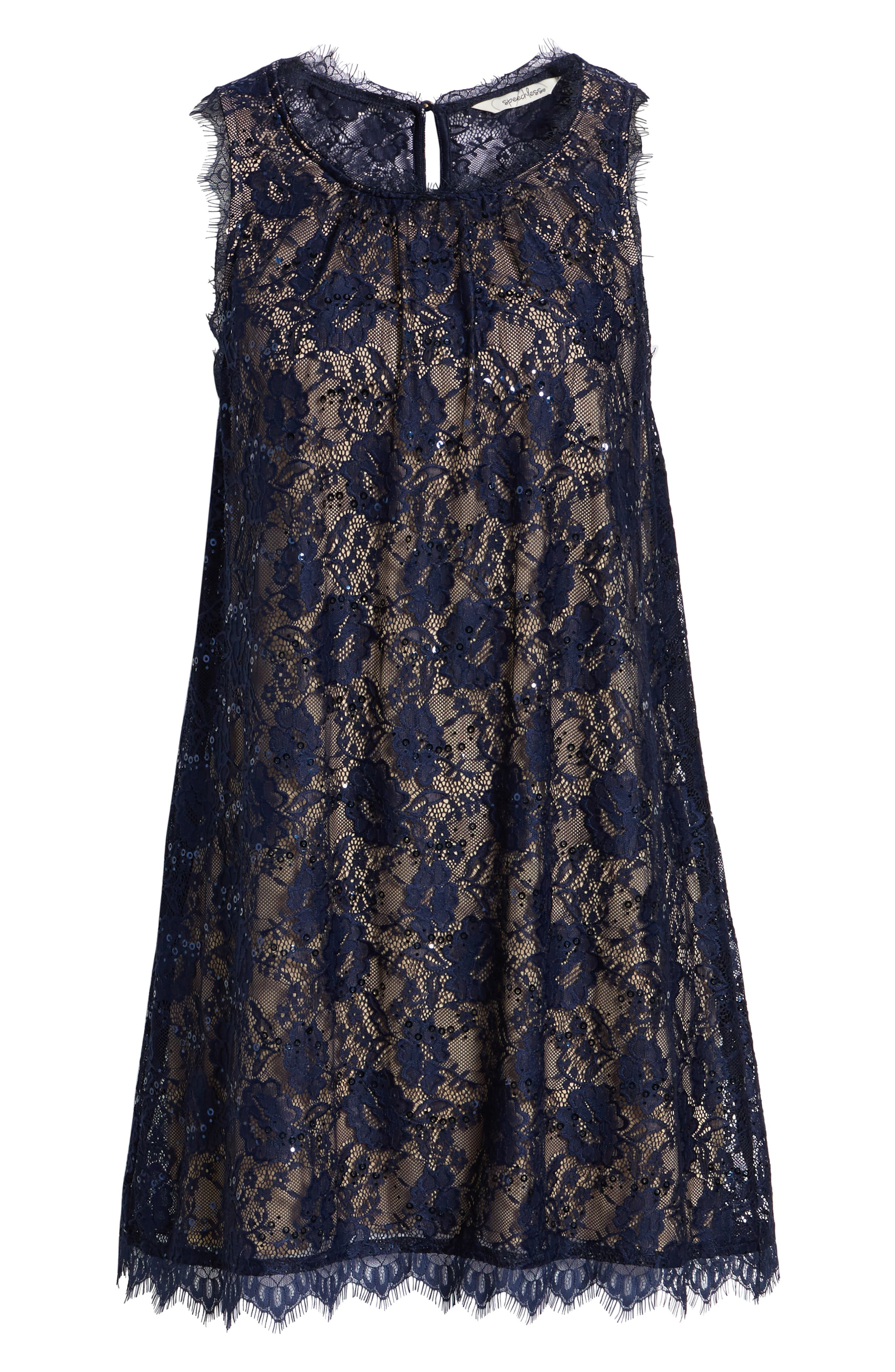 Sequin Lace Shift Dress,                             Alternate thumbnail 7, color,                             NAVY/ TAUPE