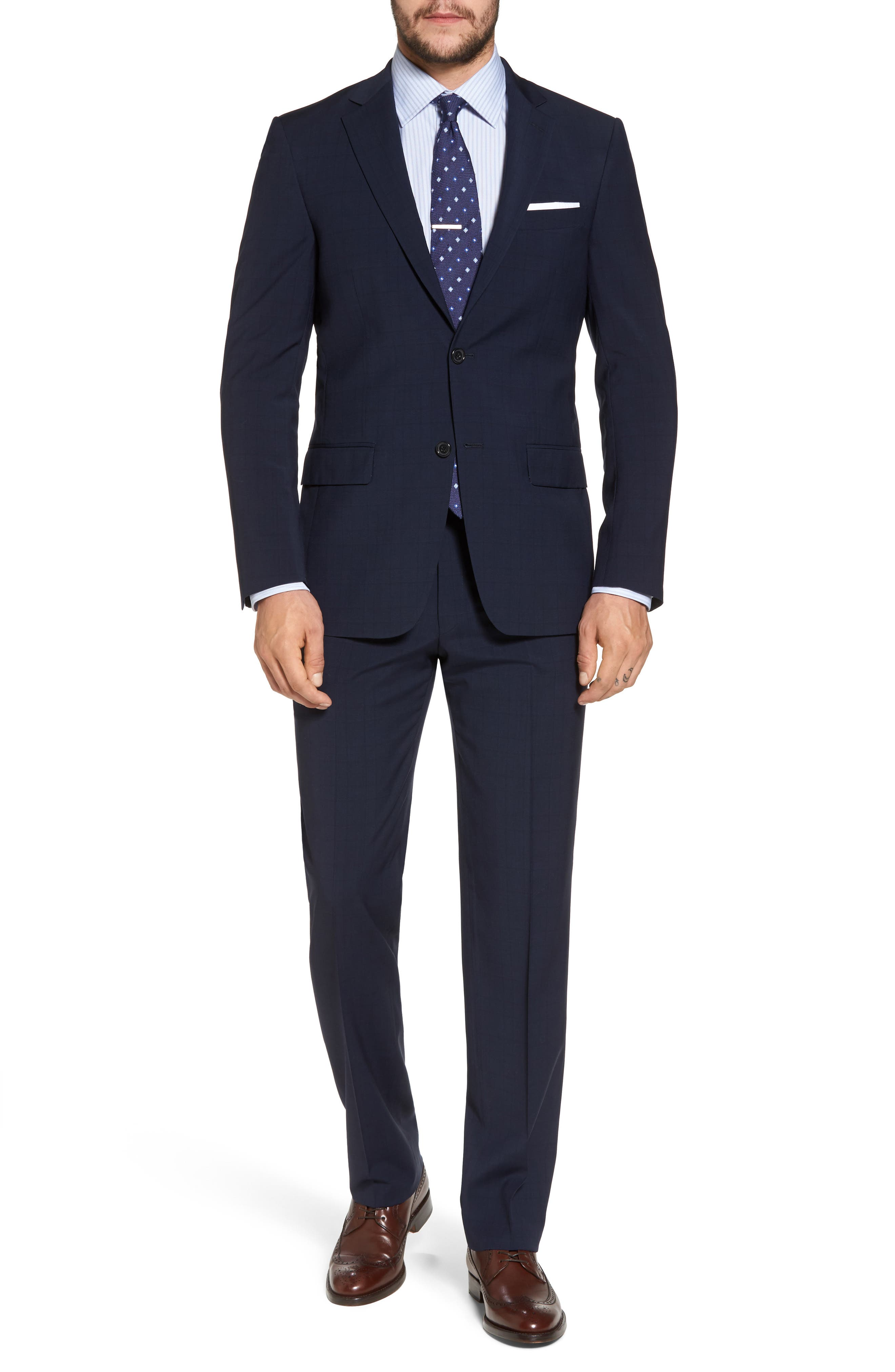 New York Classic Fit Plaid Wool Suit,                             Main thumbnail 1, color,                             400