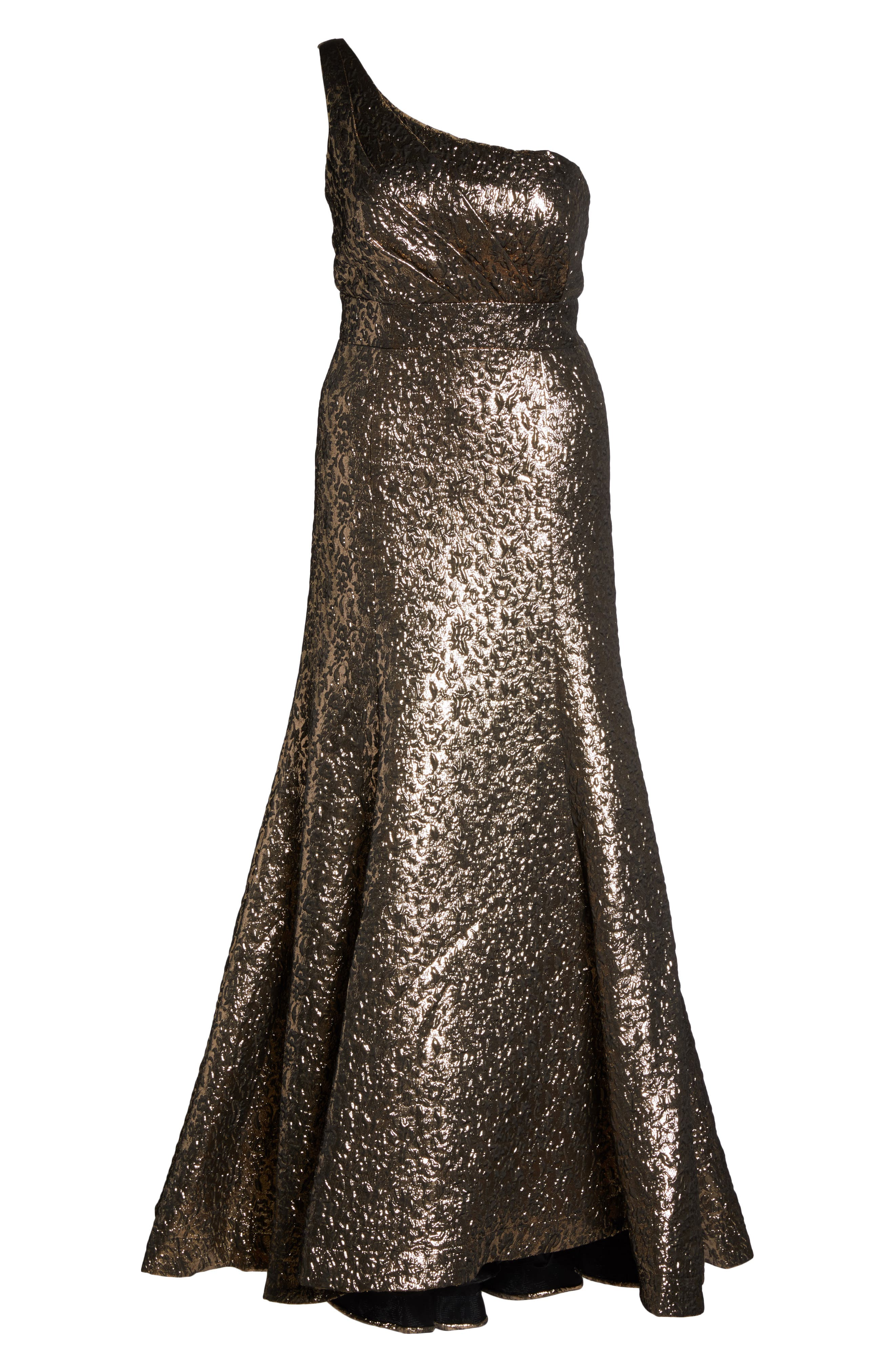 One-Shoulder Metallic Ballgown,                             Alternate thumbnail 6, color,                             ANTIQUE / GOLD