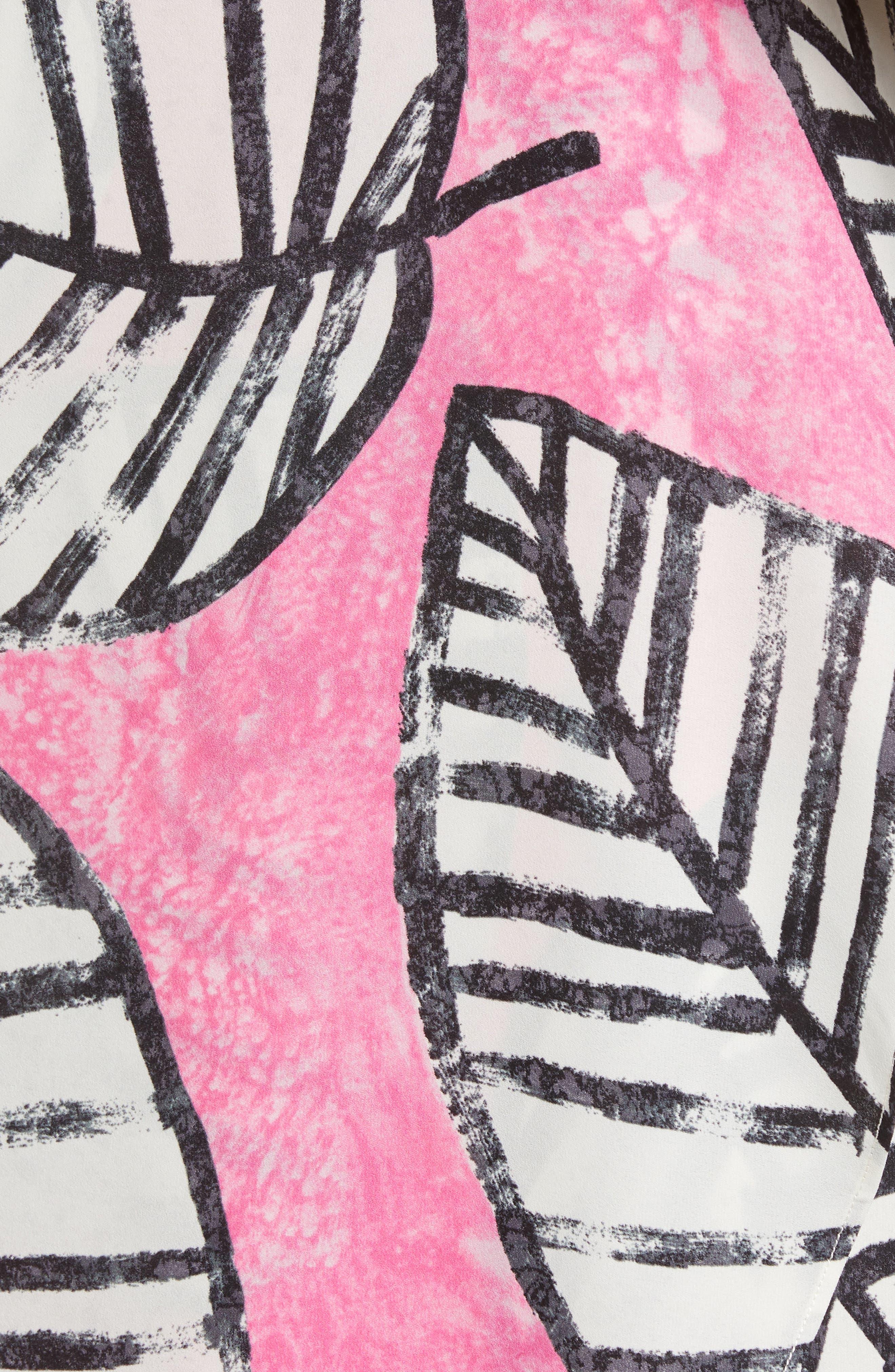 Etched Leaves Faux Wrap Shift Dress,                             Alternate thumbnail 5, color,                             655