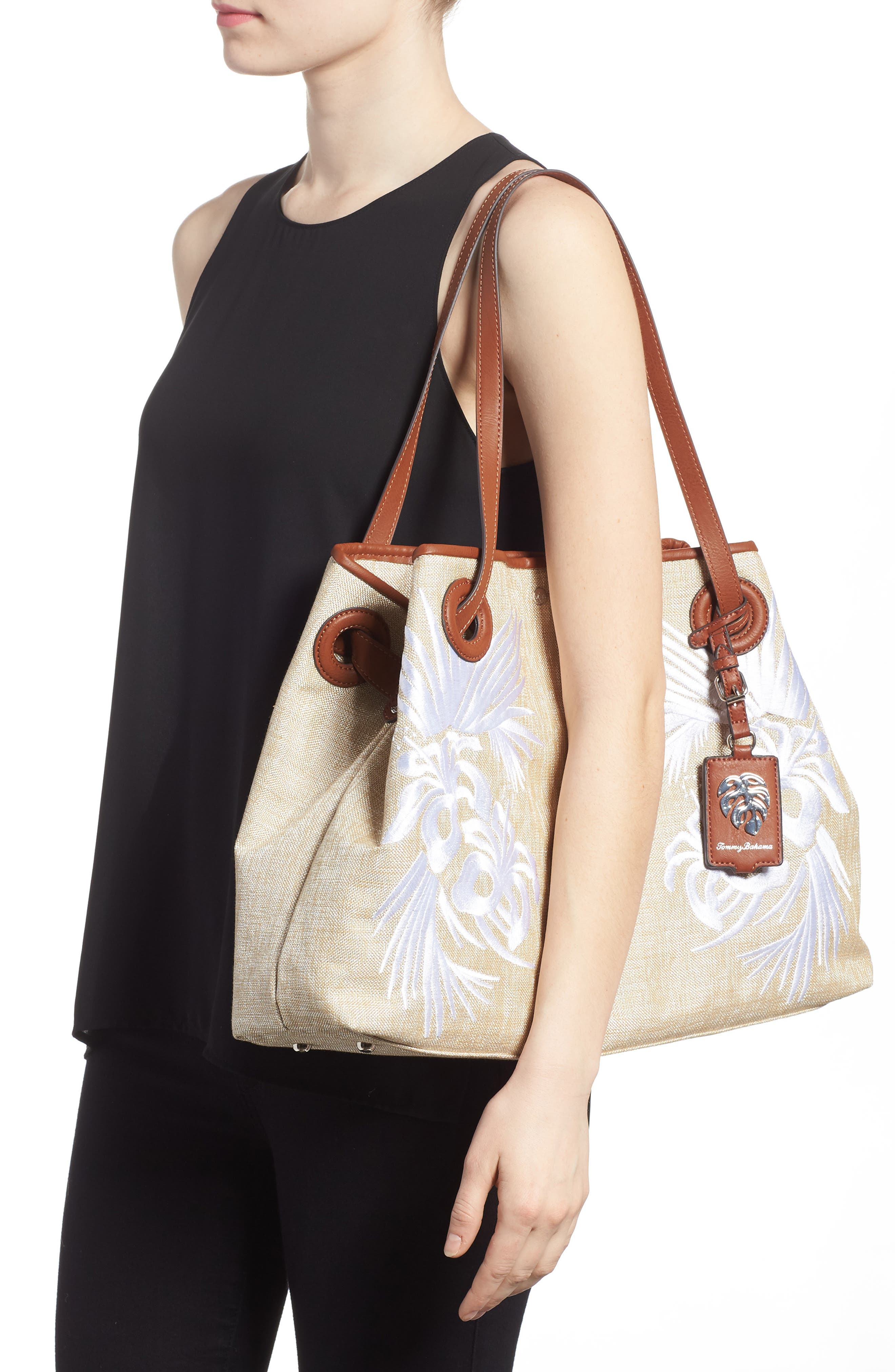 Waikiki Embroidered Canvas Tote,                             Alternate thumbnail 6, color,