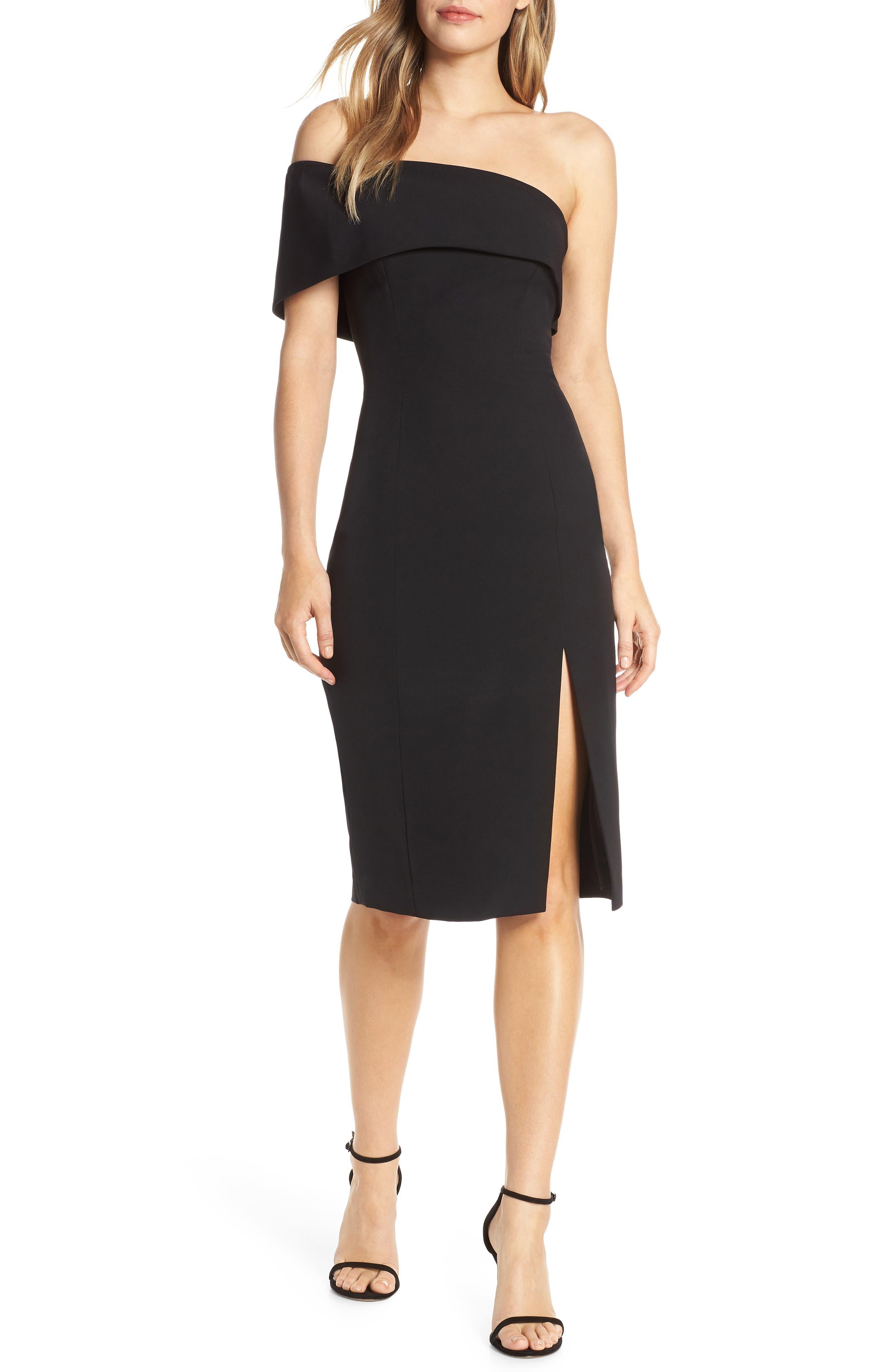 ELIZA J,                             Off the Shoulder Scuba Crepe Cocktail Dress,                             Main thumbnail 1, color,                             BLACK