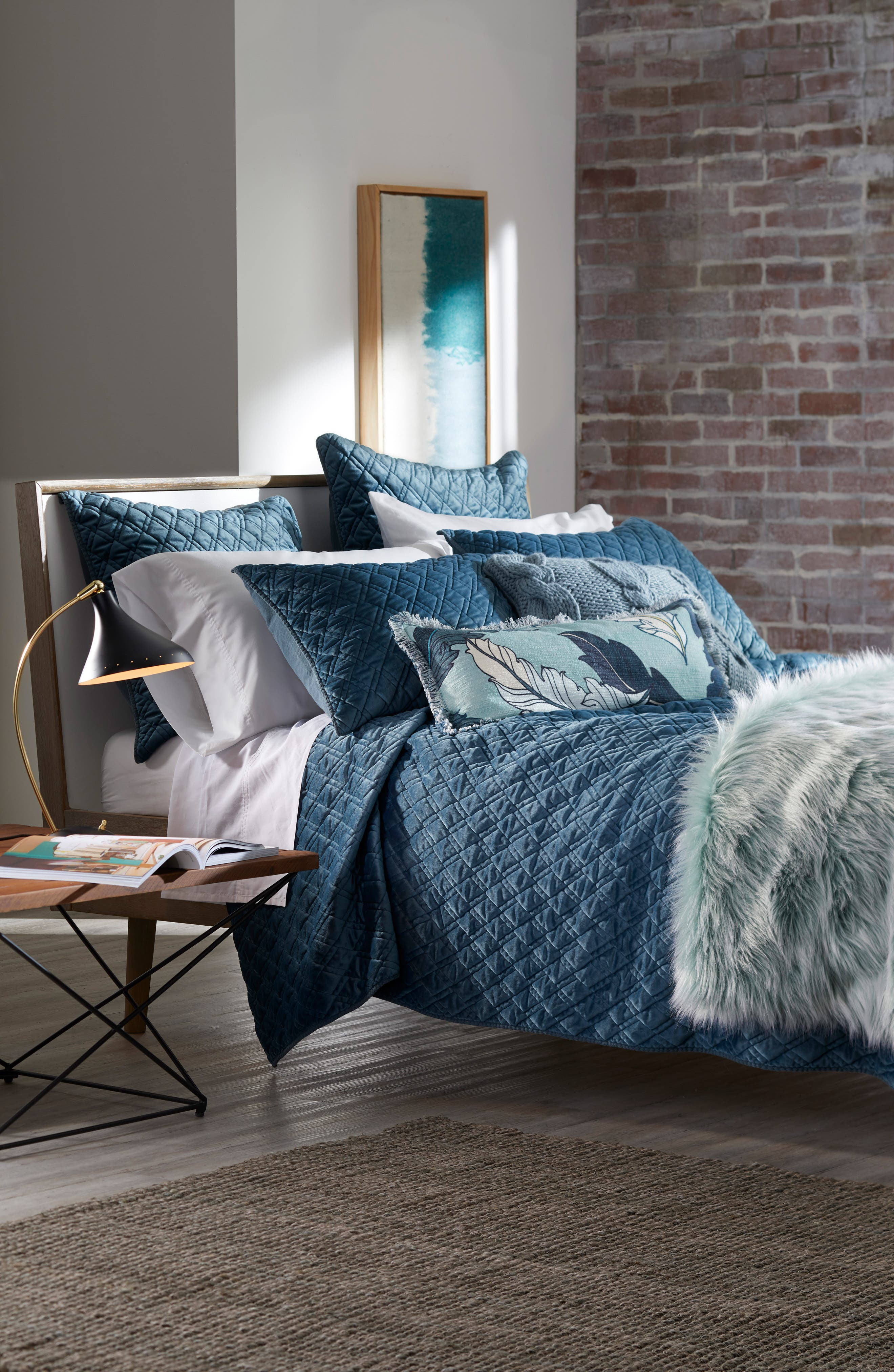 NORDSTROM AT HOME,                             Faux Fur Throw,                             Alternate thumbnail 3, color,                             TEAL STEAM