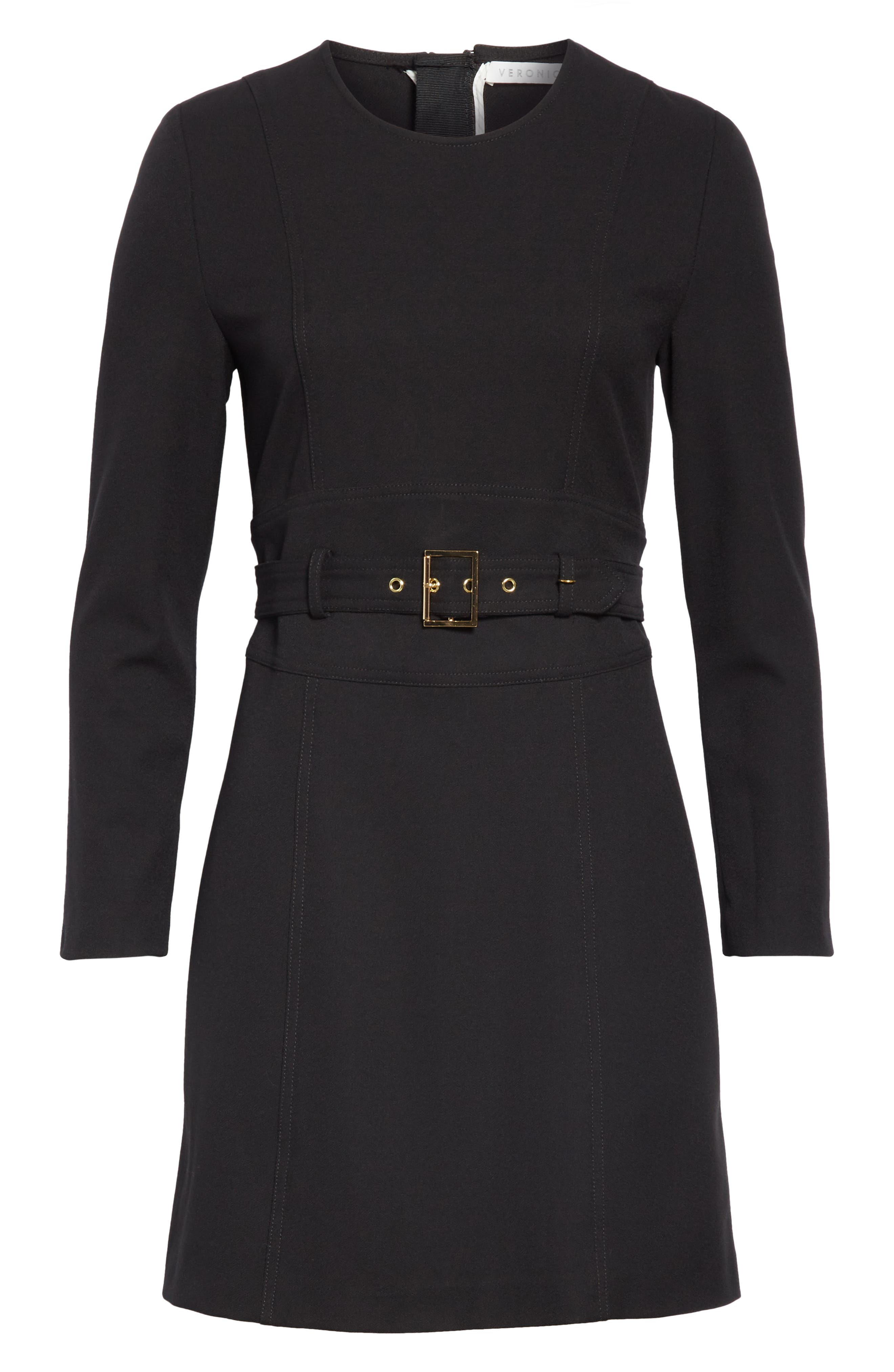 Nora Belted Minidress,                             Alternate thumbnail 6, color,                             BLACK