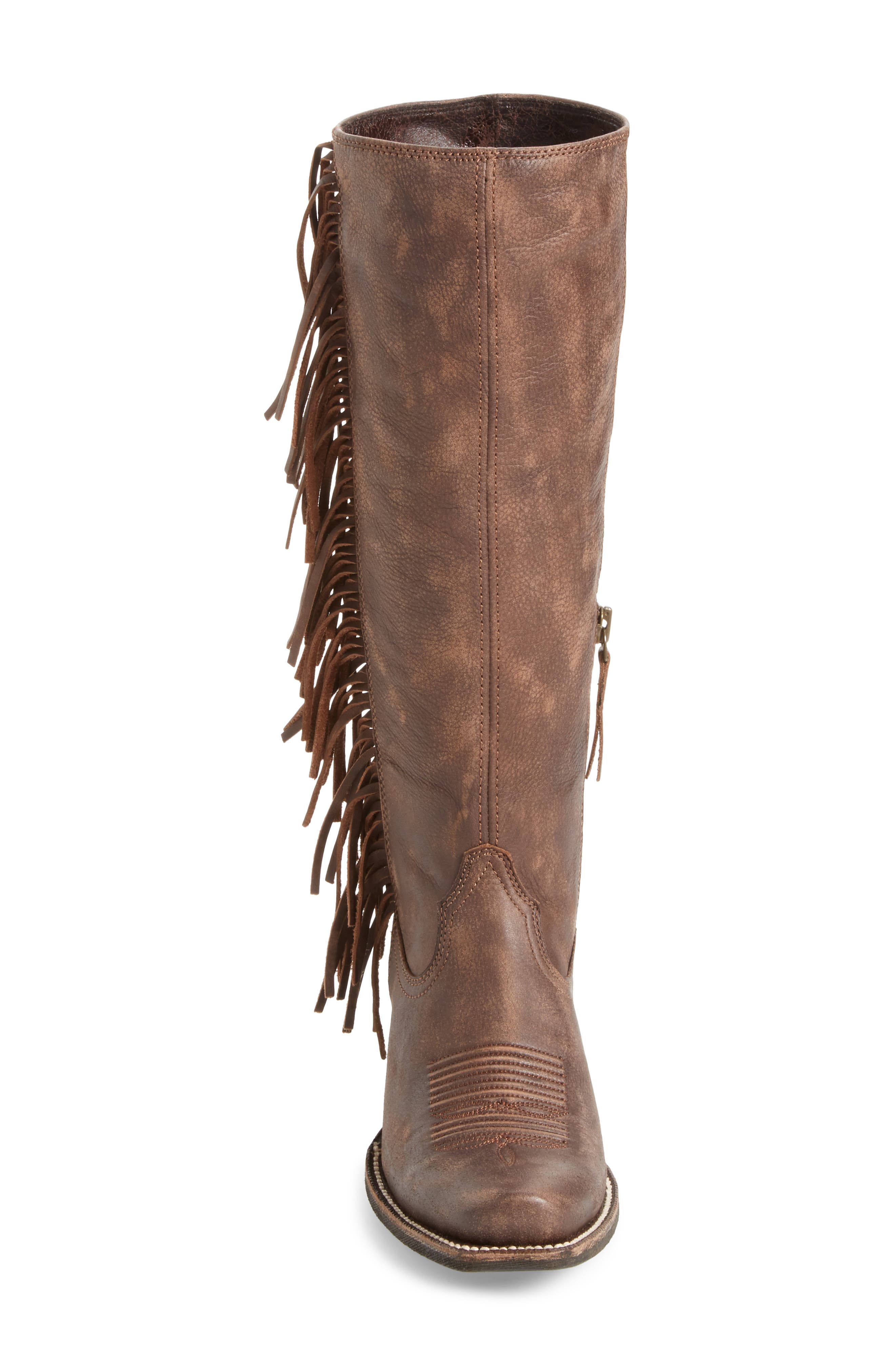 Leyton Fringe Western Boot,                             Alternate thumbnail 4, color,                             TACK ROOM CHOCOLATE LEATHER