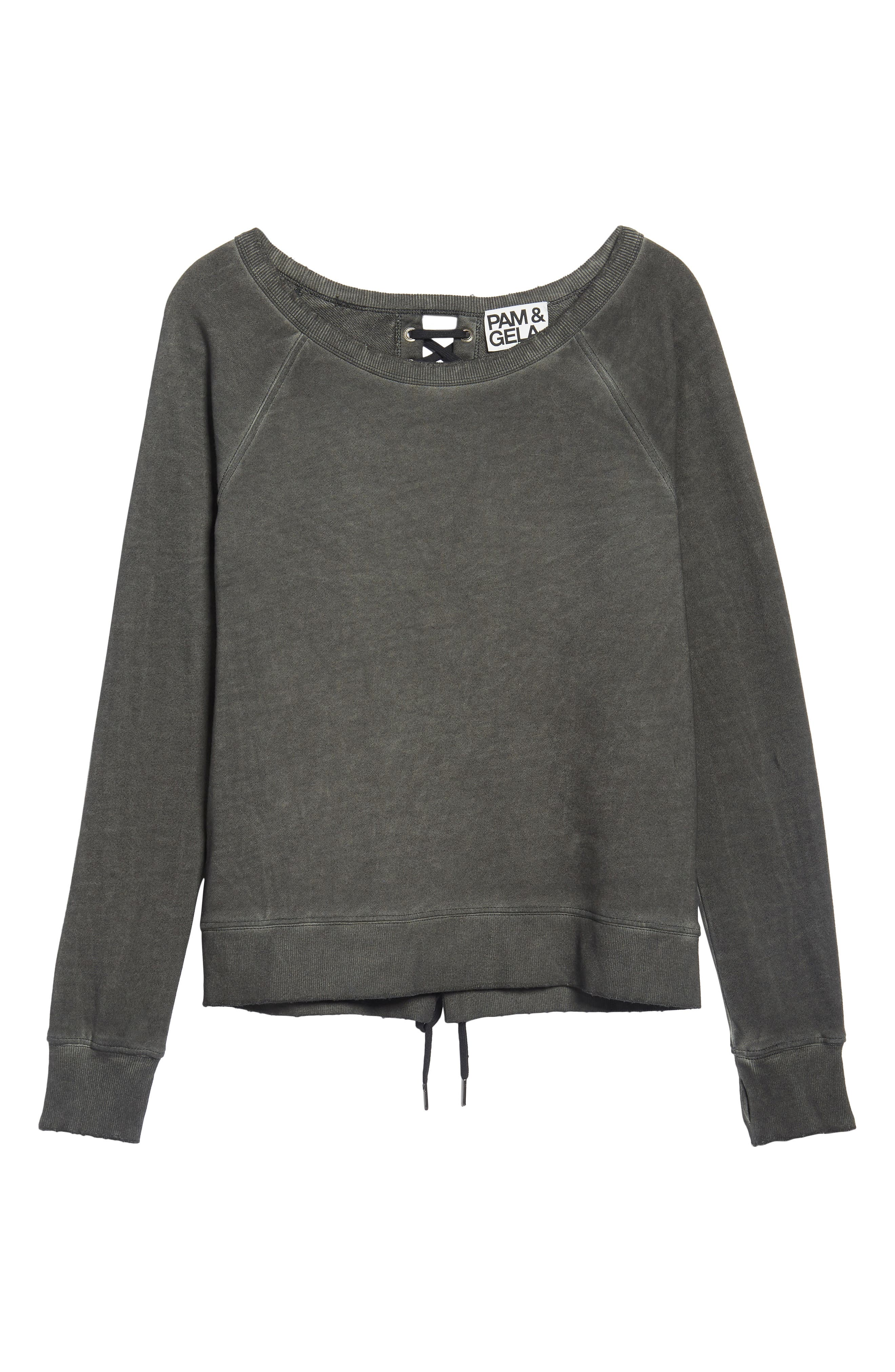 Lace-Up Sweatshirt,                             Alternate thumbnail 6, color,                             006