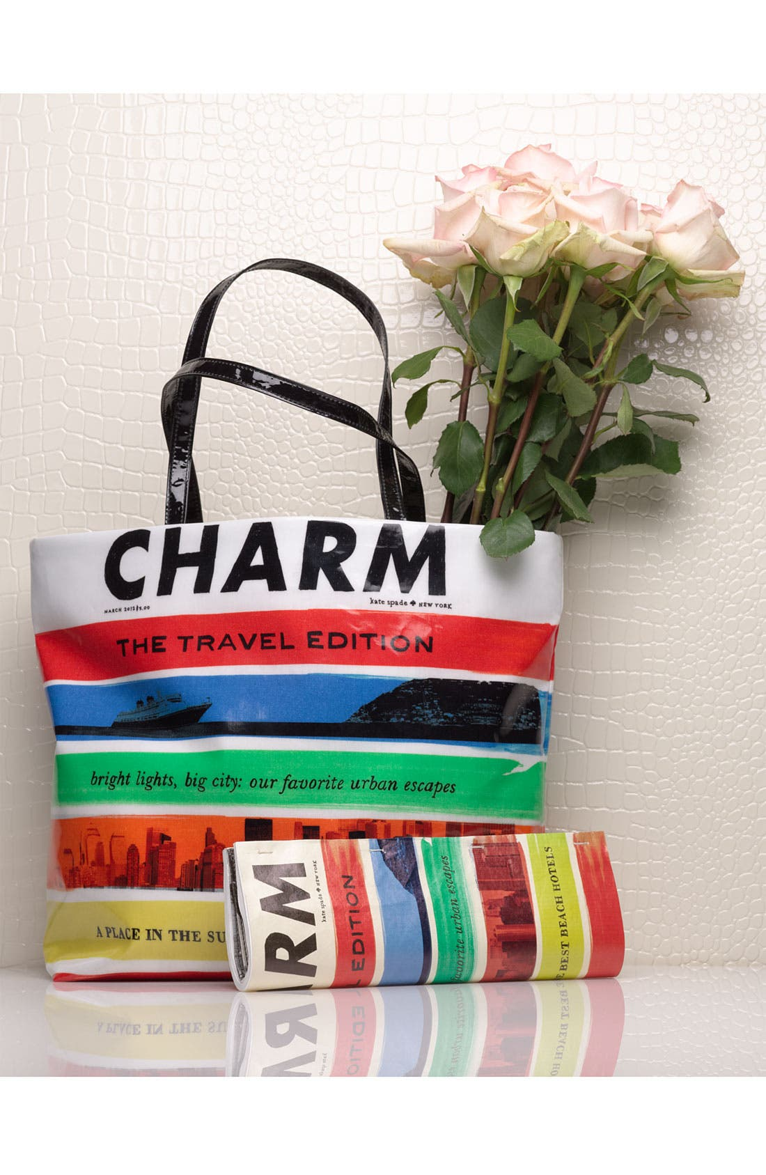 'charm - travel magazine' clutch,                             Alternate thumbnail 5, color,                             974