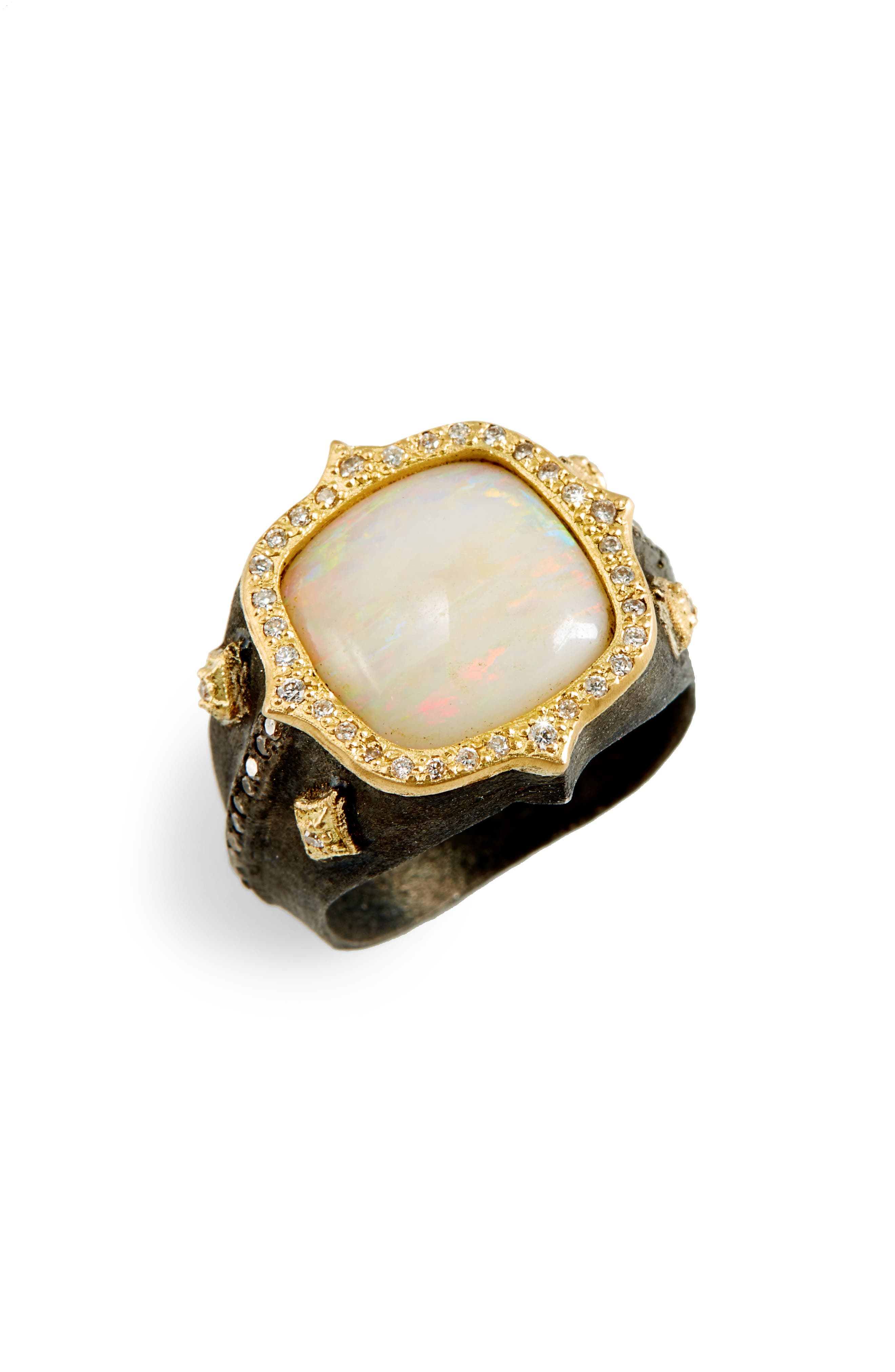 Old World Cushion Opal Ring,                         Main,                         color, BLACKENED SILVER/ OPAL