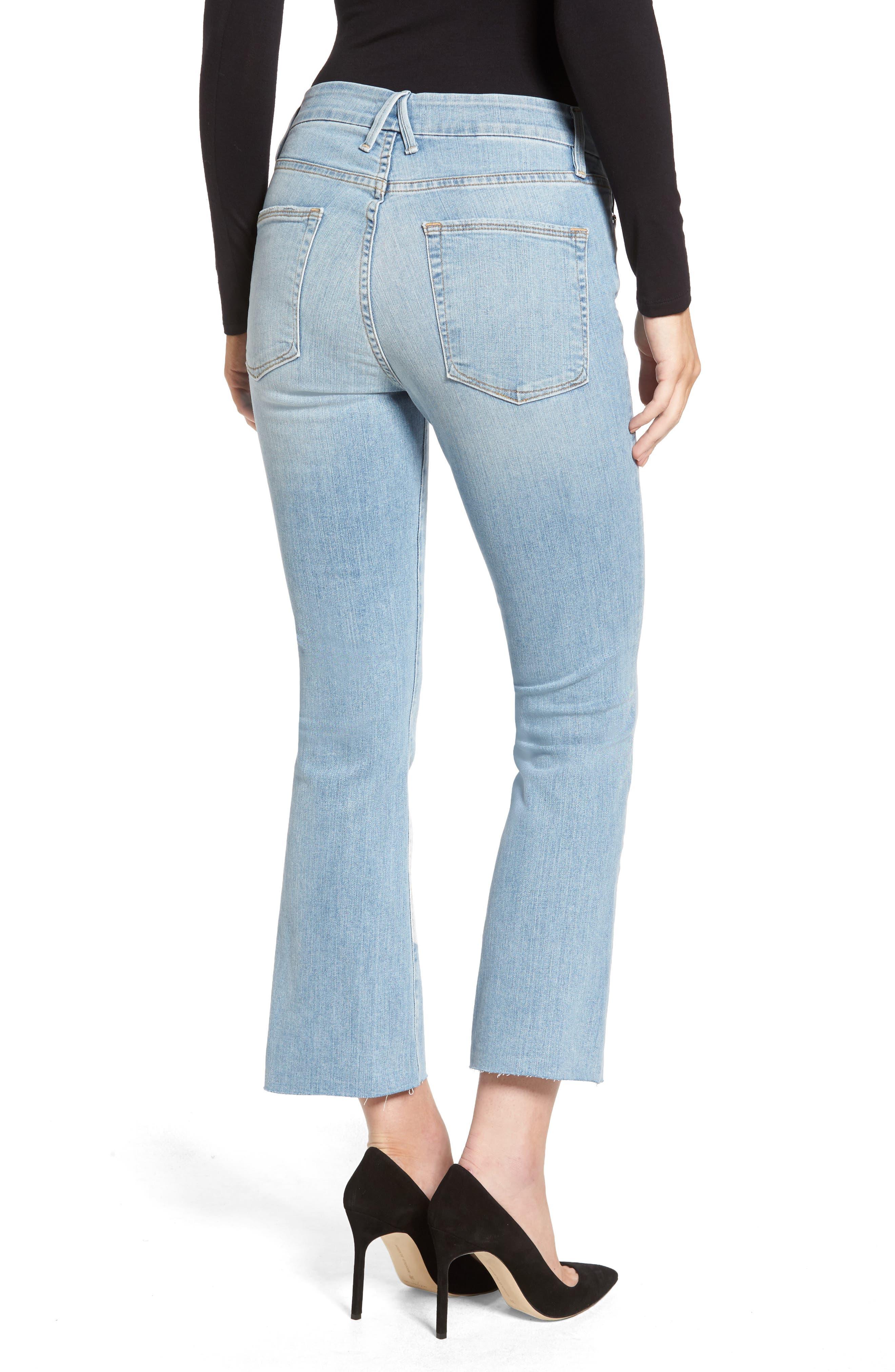 Crop Raw Edge Bootcut Jeans,                             Alternate thumbnail 2, color,                             402