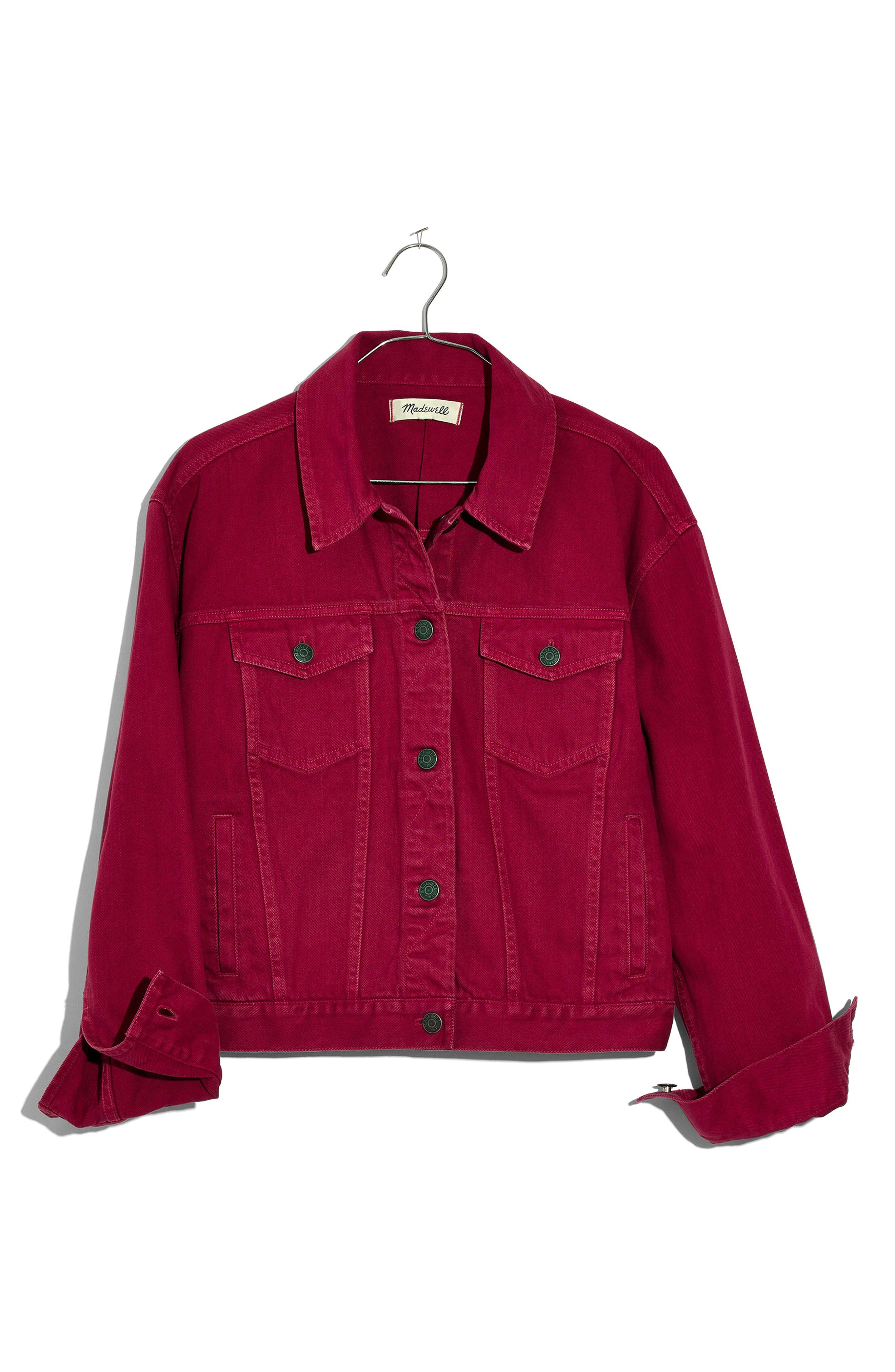 Garment Dyed Boxy Crop Jean Jacket,                             Alternate thumbnail 4, color,
