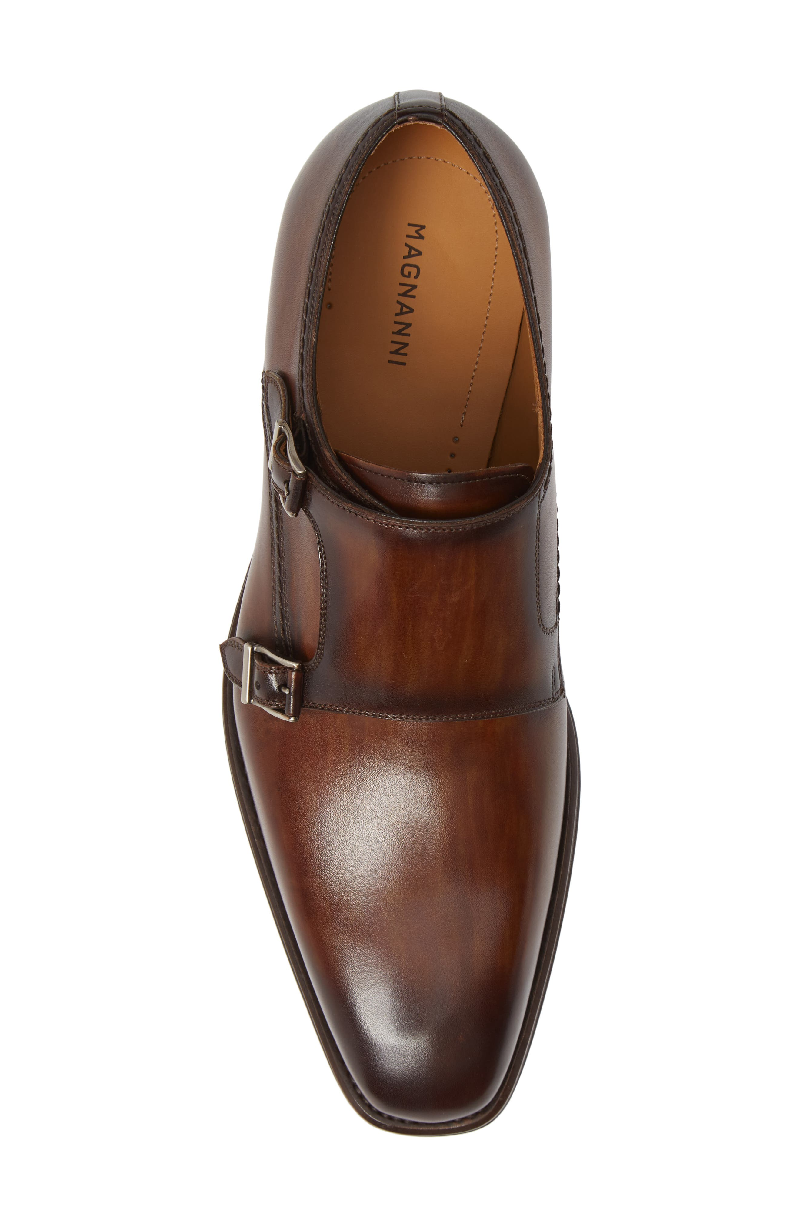 Landon Double Strap Monk Shoe,                             Alternate thumbnail 5, color,                             TOBACCO LEATHER
