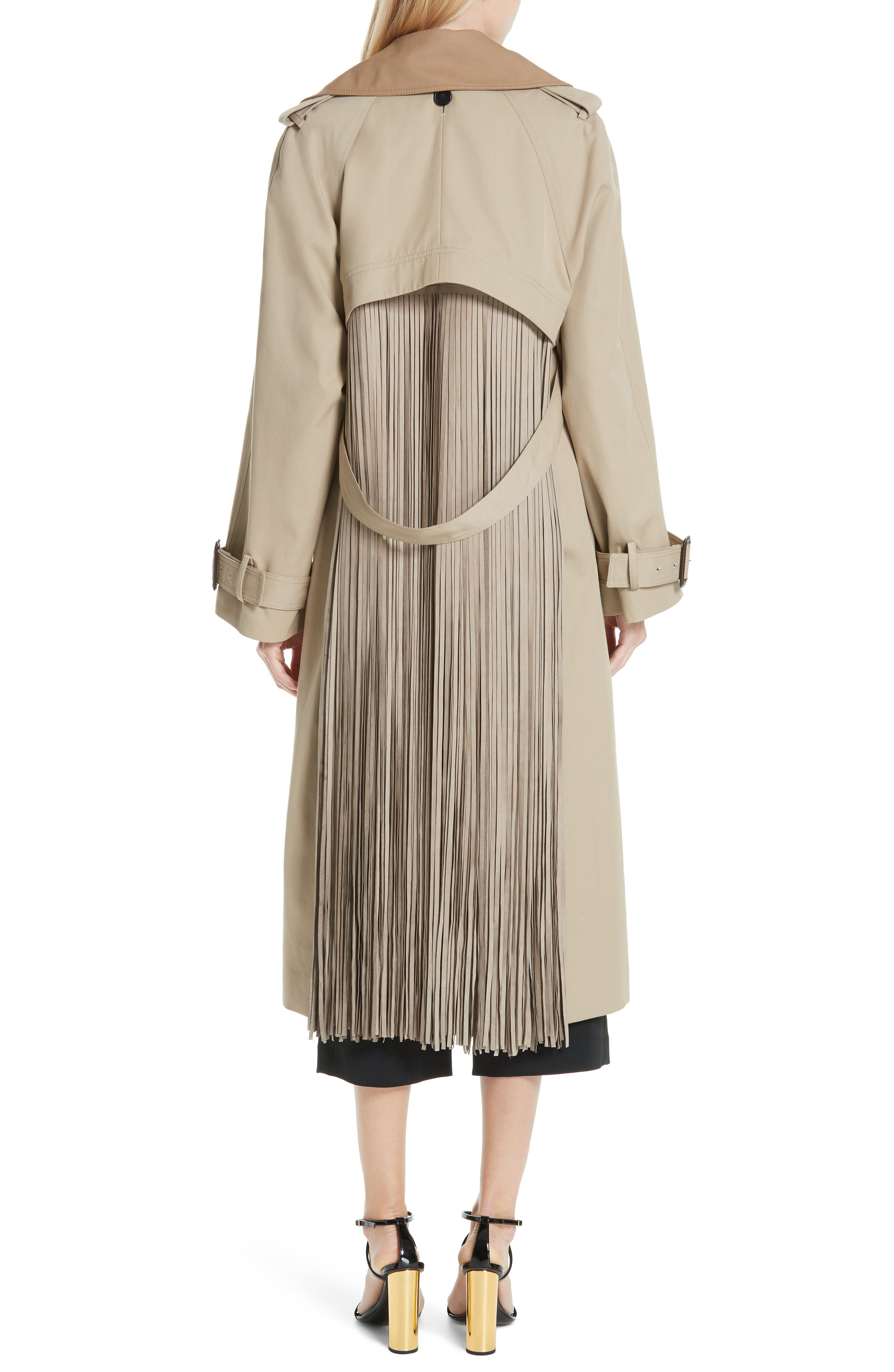 Trench Coat with Vest & Removable Fringe,                             Alternate thumbnail 5, color,                             KHAKI/ TAN