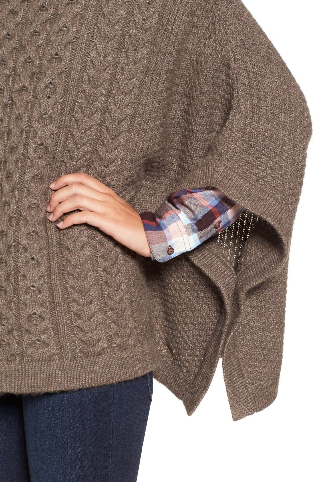 'Clover' Cable Knit Poncho,                             Alternate thumbnail 5, color,                             270