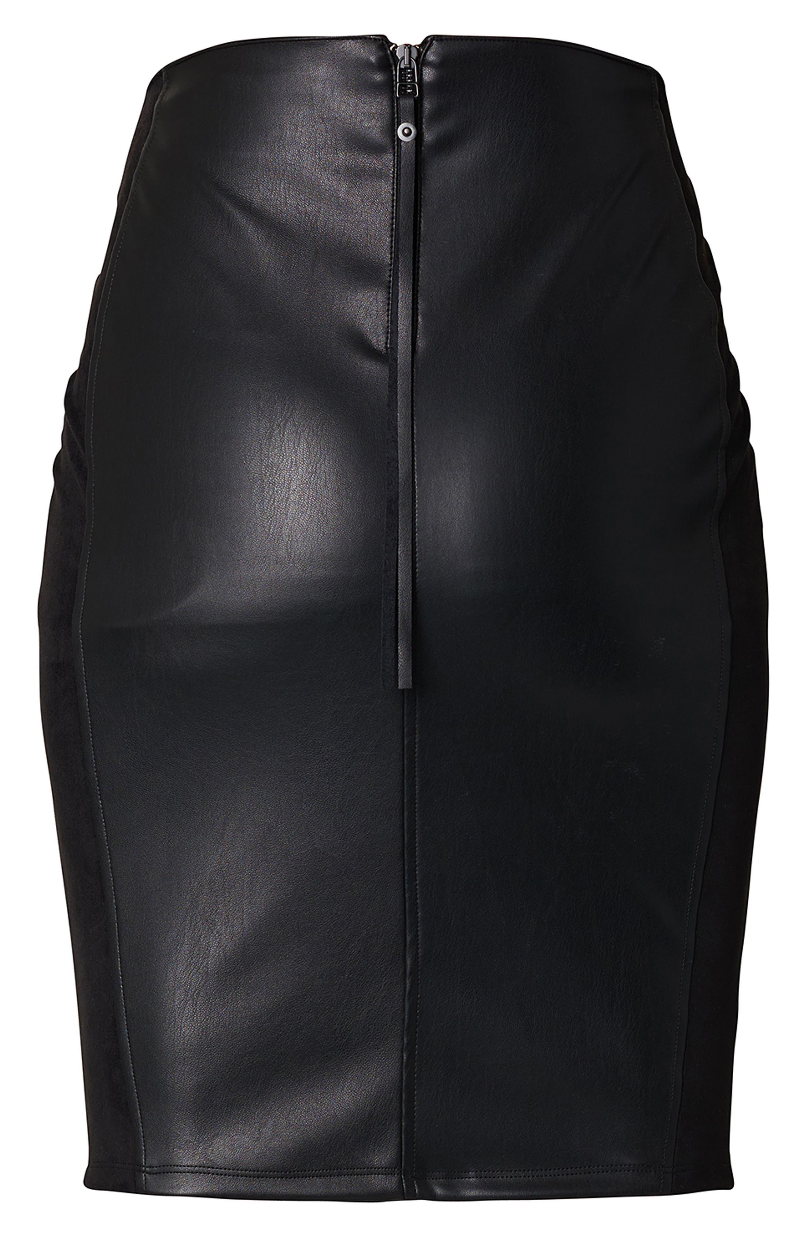 SUPERMOM High Waist Faux Leather Skirt, Main, color, 001