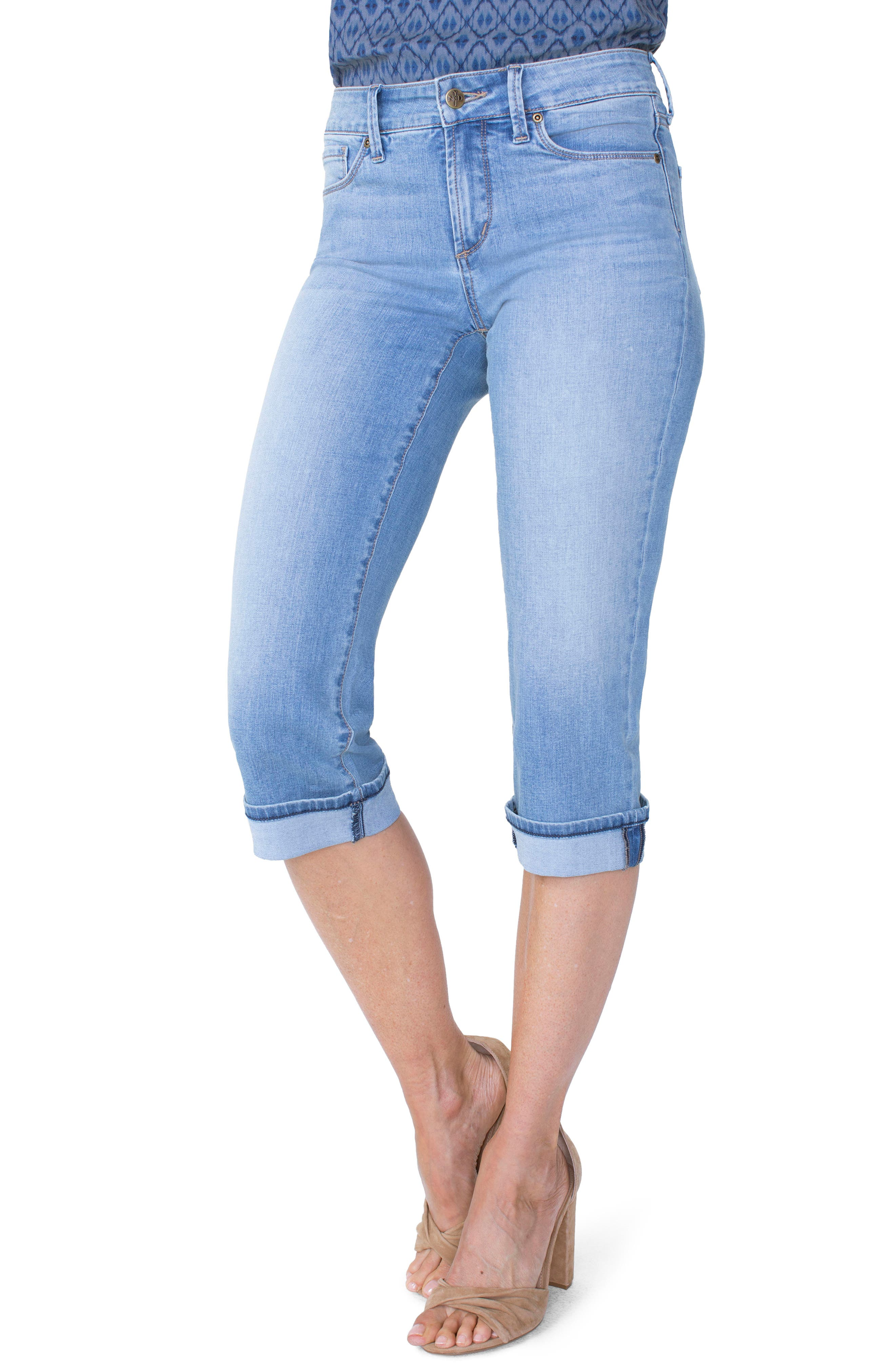 Marilyn High Waist Cuffed Stretch Crop Jeans,                         Main,                         color, PAMPELONNE
