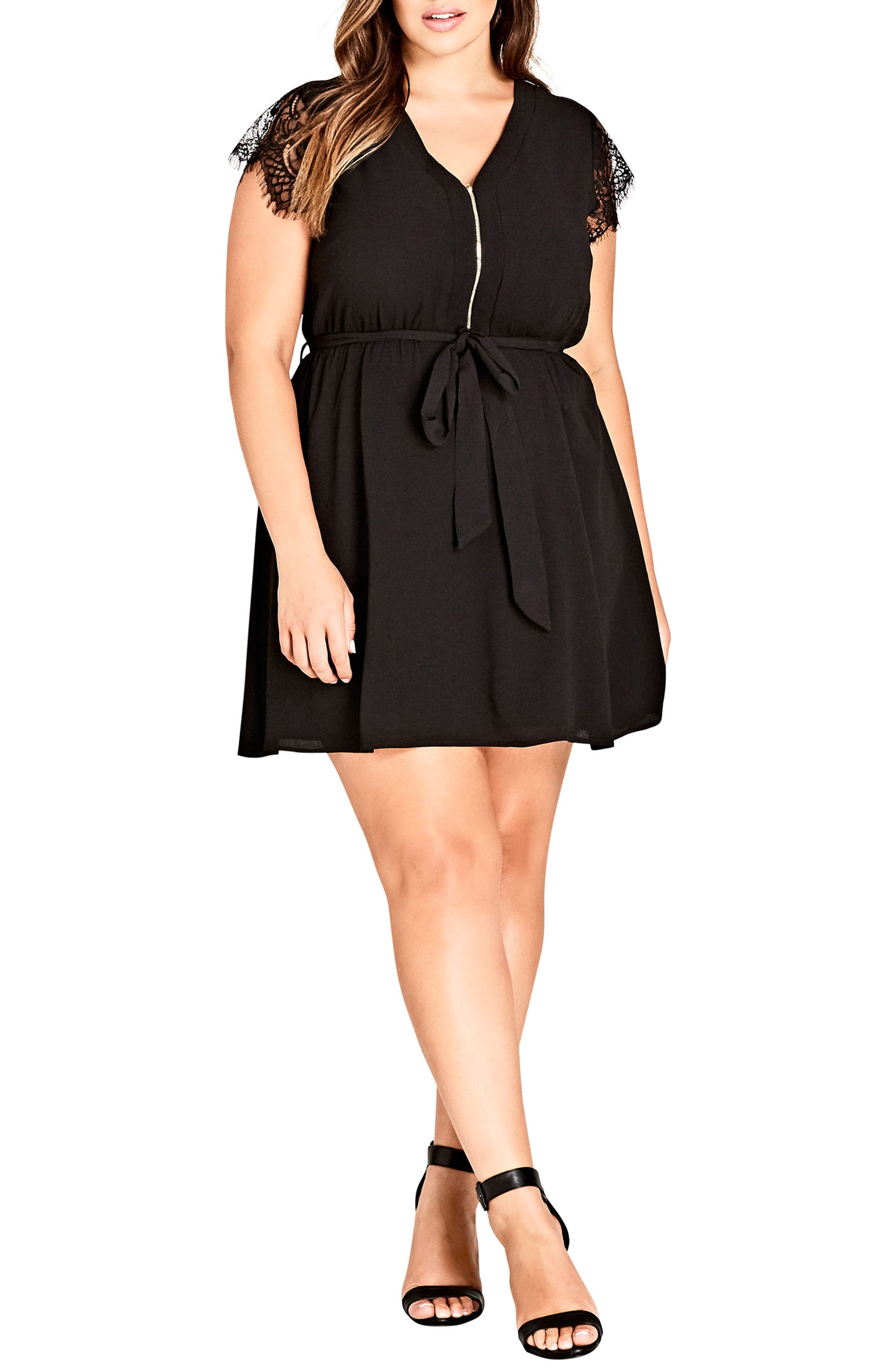 Sweet Zip Front Tunic Dress,                             Main thumbnail 1, color,                             001