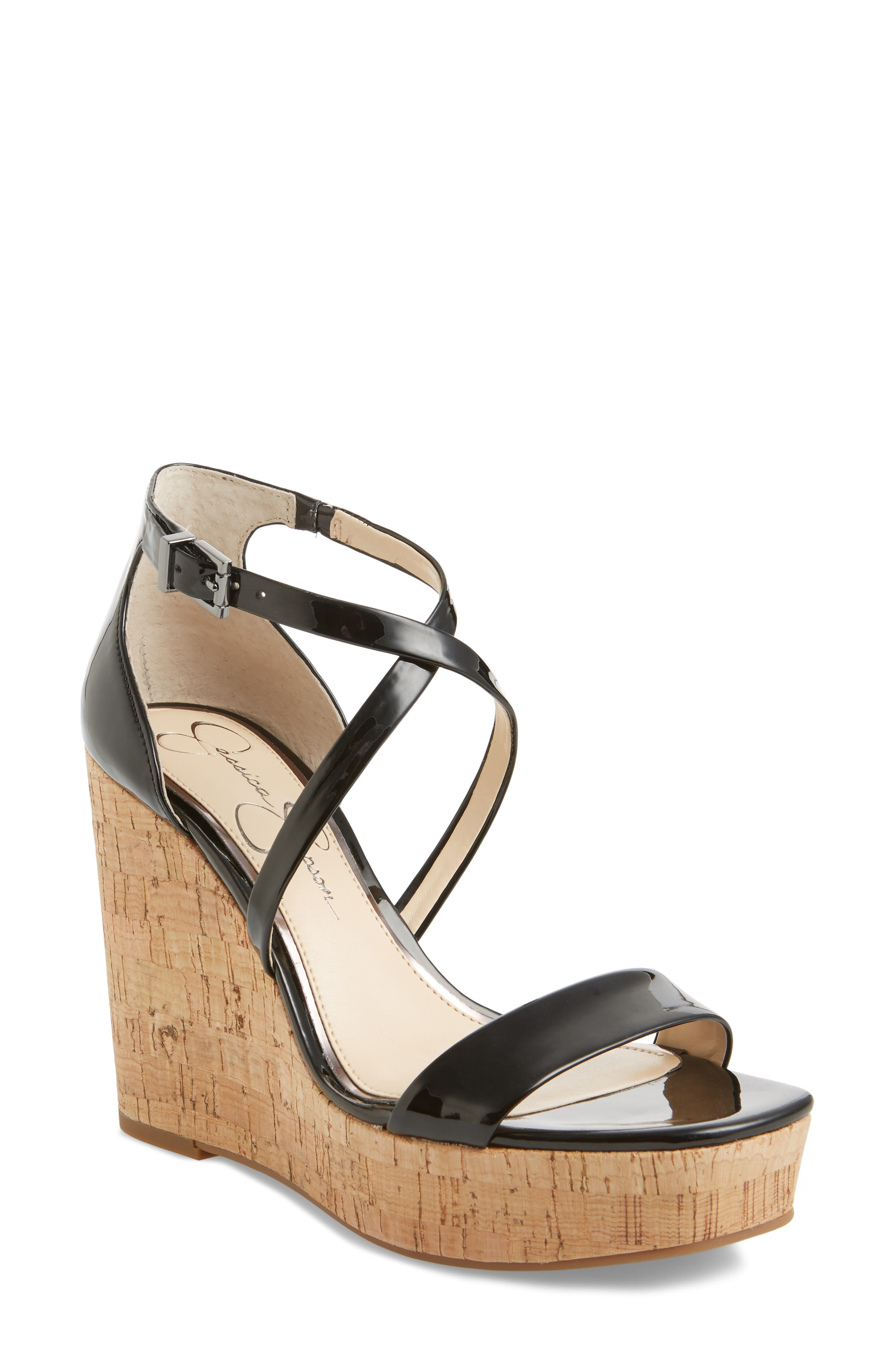 Stassi Cross Strap Wedge Sandal,                         Main,                         color, 001