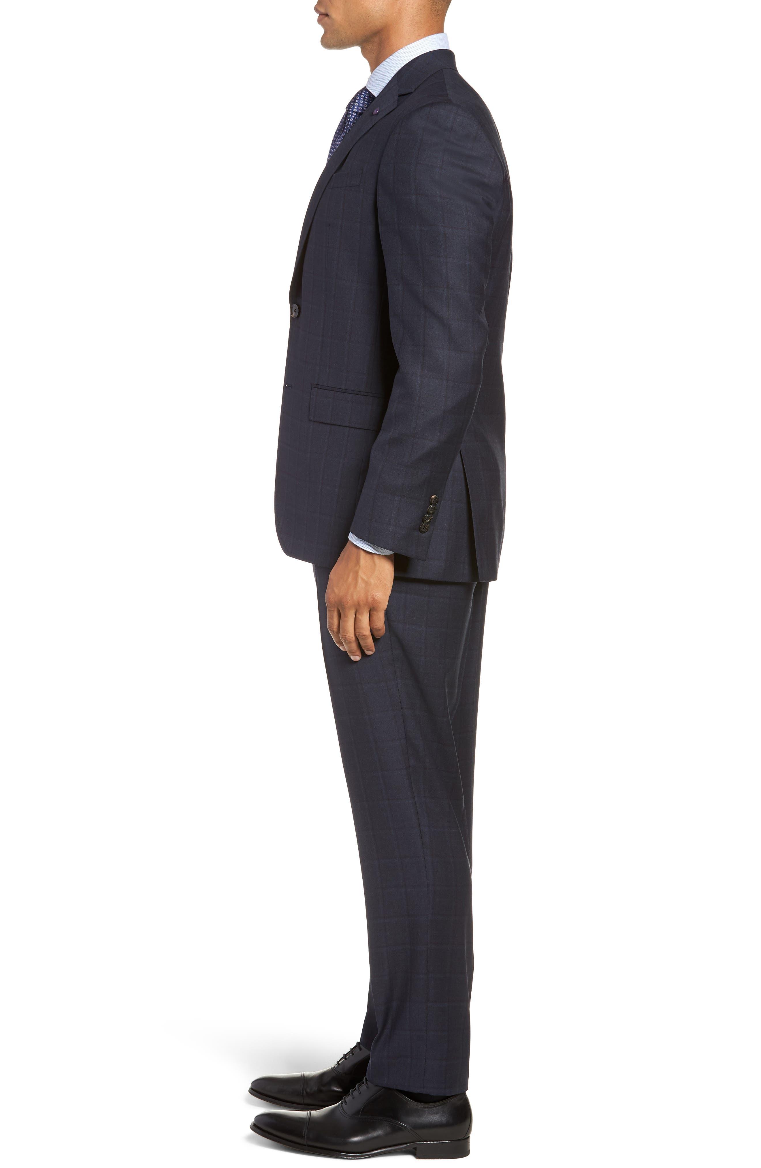 Jay Trim Fit Plaid Wool Suit,                             Alternate thumbnail 3, color,                             BLUE