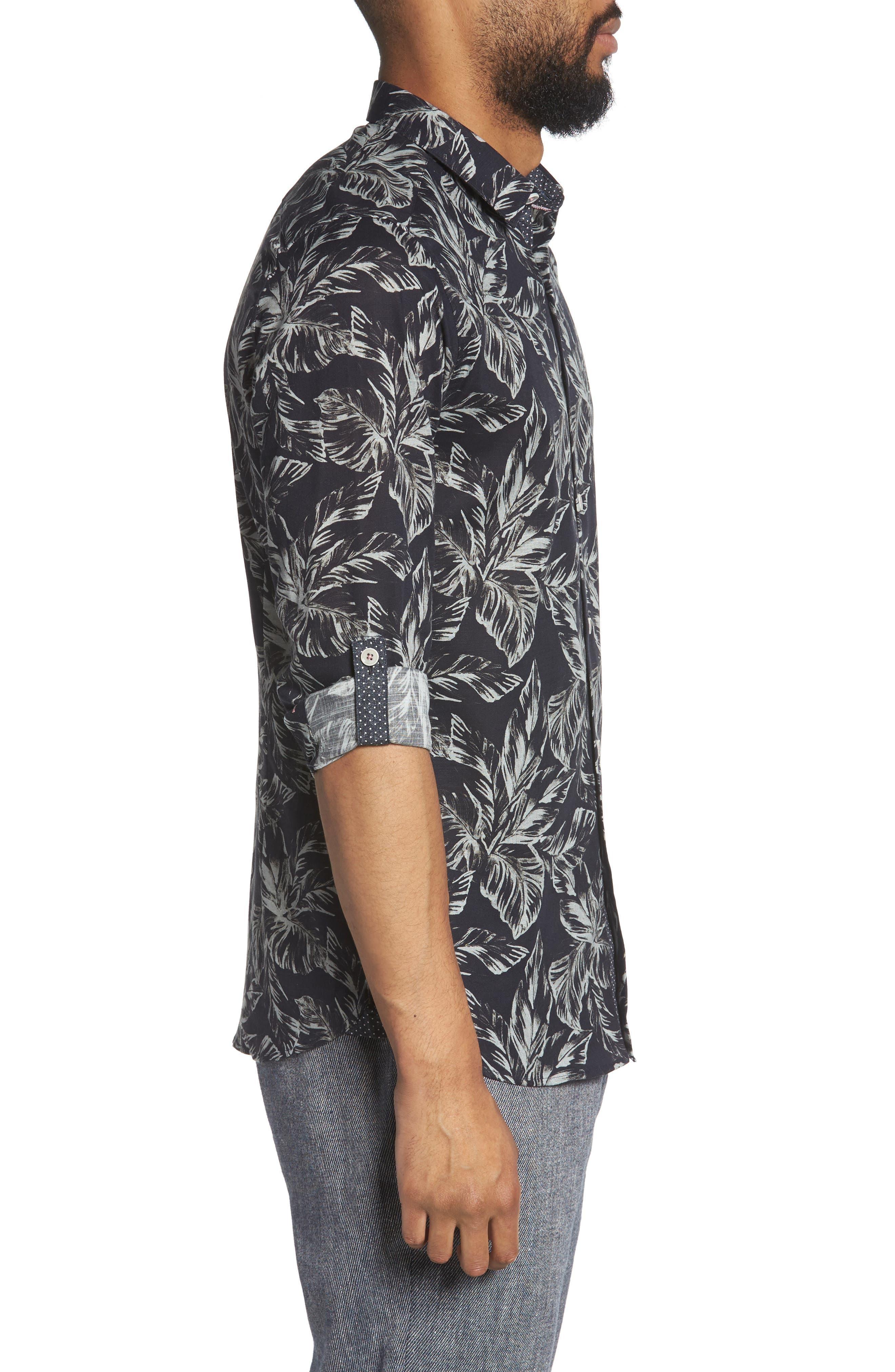 Rinnie Trim Fit Leaf Print Sport Shirt,                             Alternate thumbnail 3, color,                             NAVY