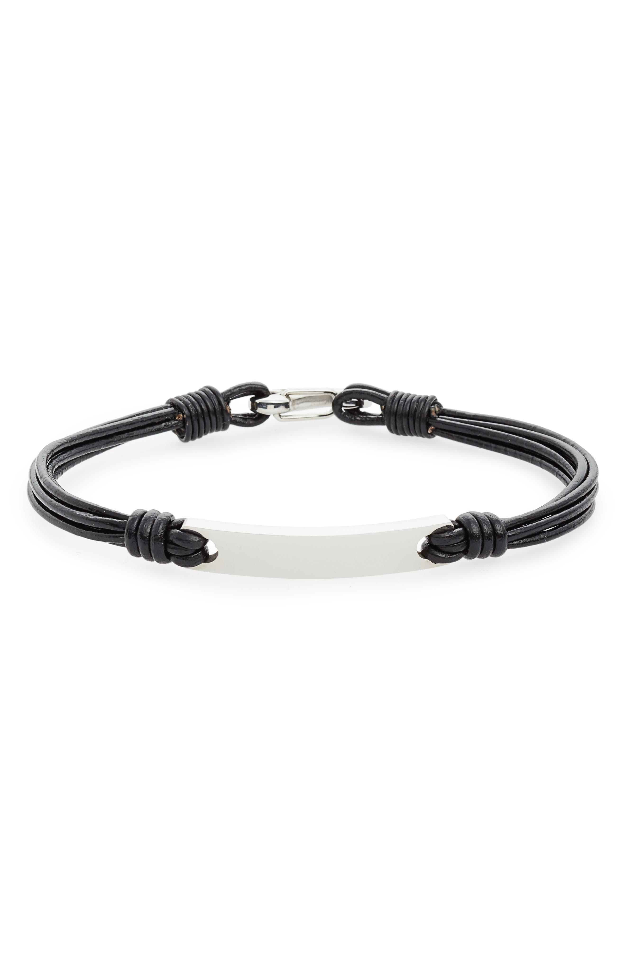 Leather Strands Bracelet,                             Main thumbnail 1, color,                             001