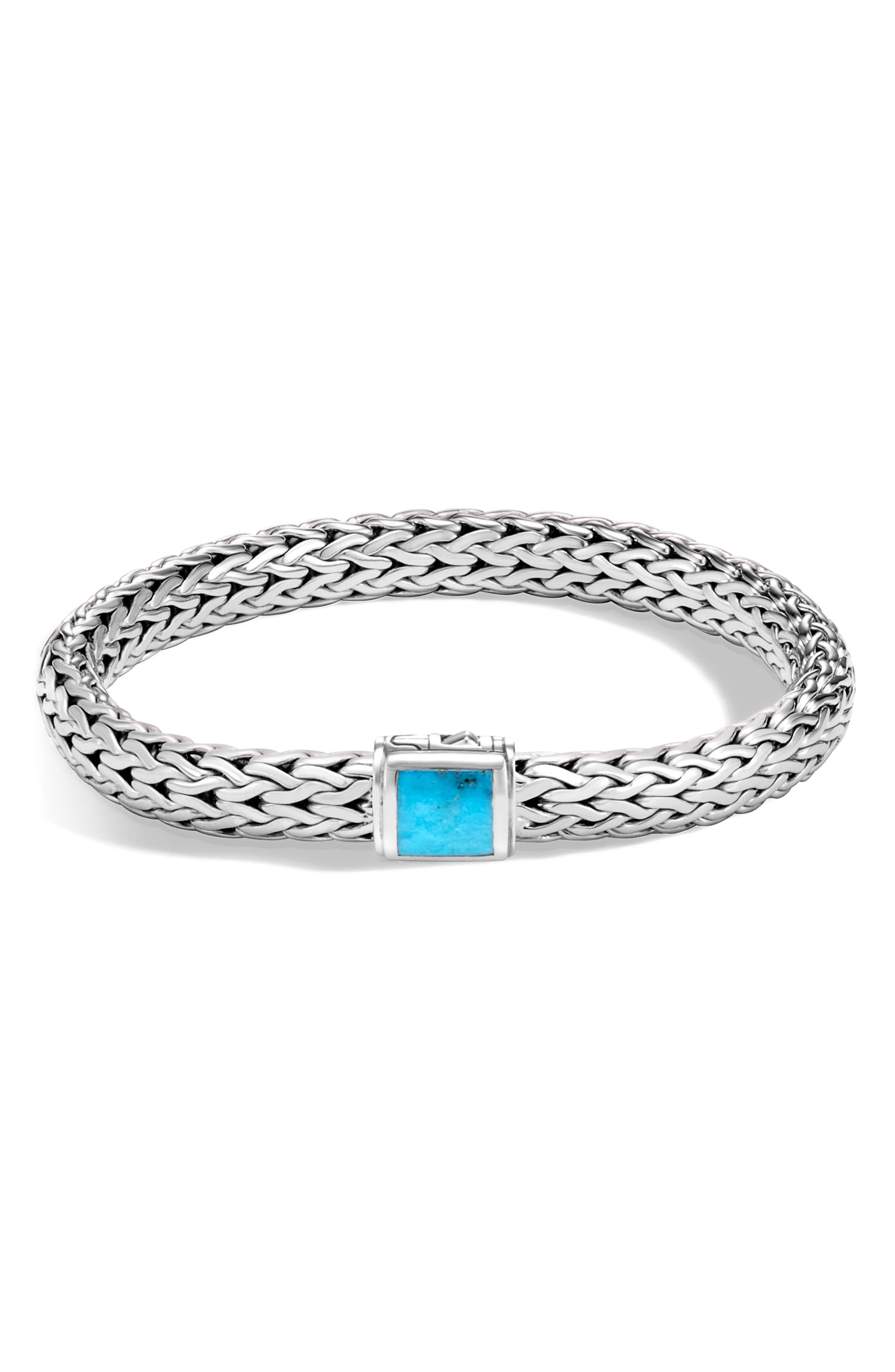Classic Chain 7.5MM Bracelet,                         Main,                         color, SILVER/ TURQUOISE