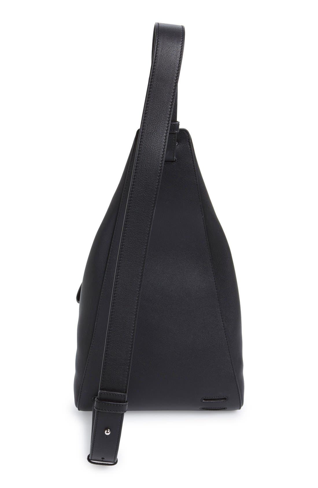 'Small Anton' Calfskin Leather Sling Bag,                             Alternate thumbnail 5, color,                             001