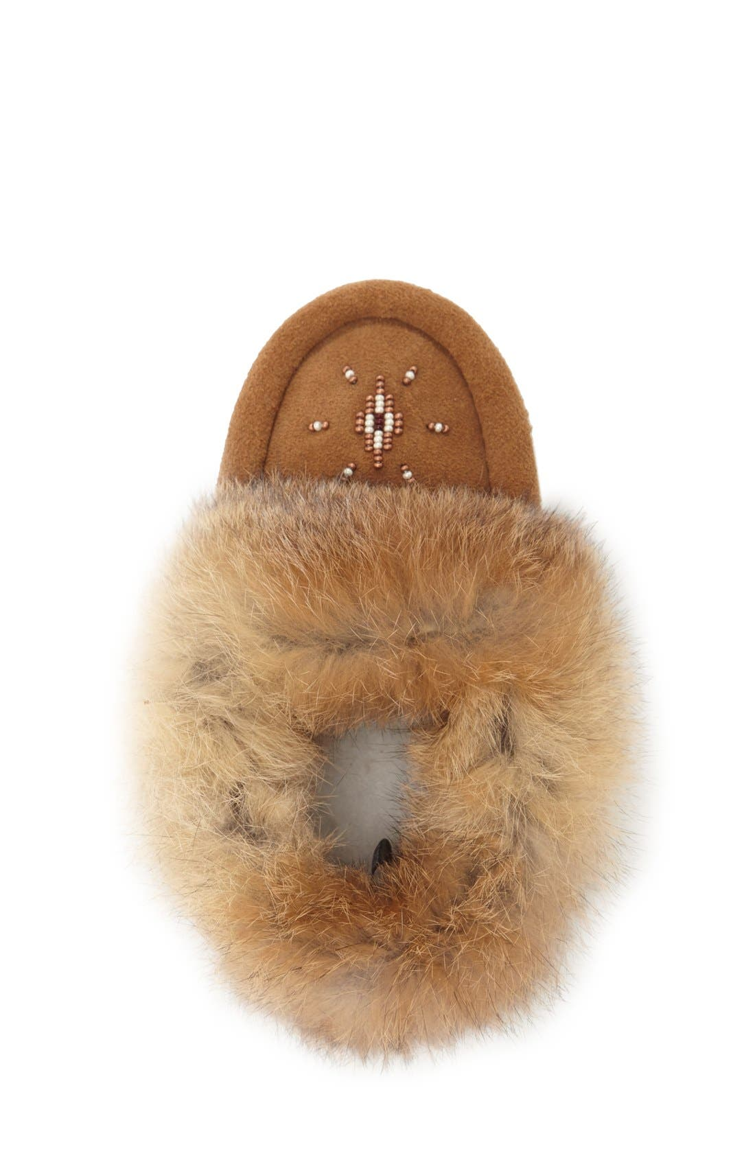 Genuine Rabbit Fur Moccasin,                             Alternate thumbnail 10, color,