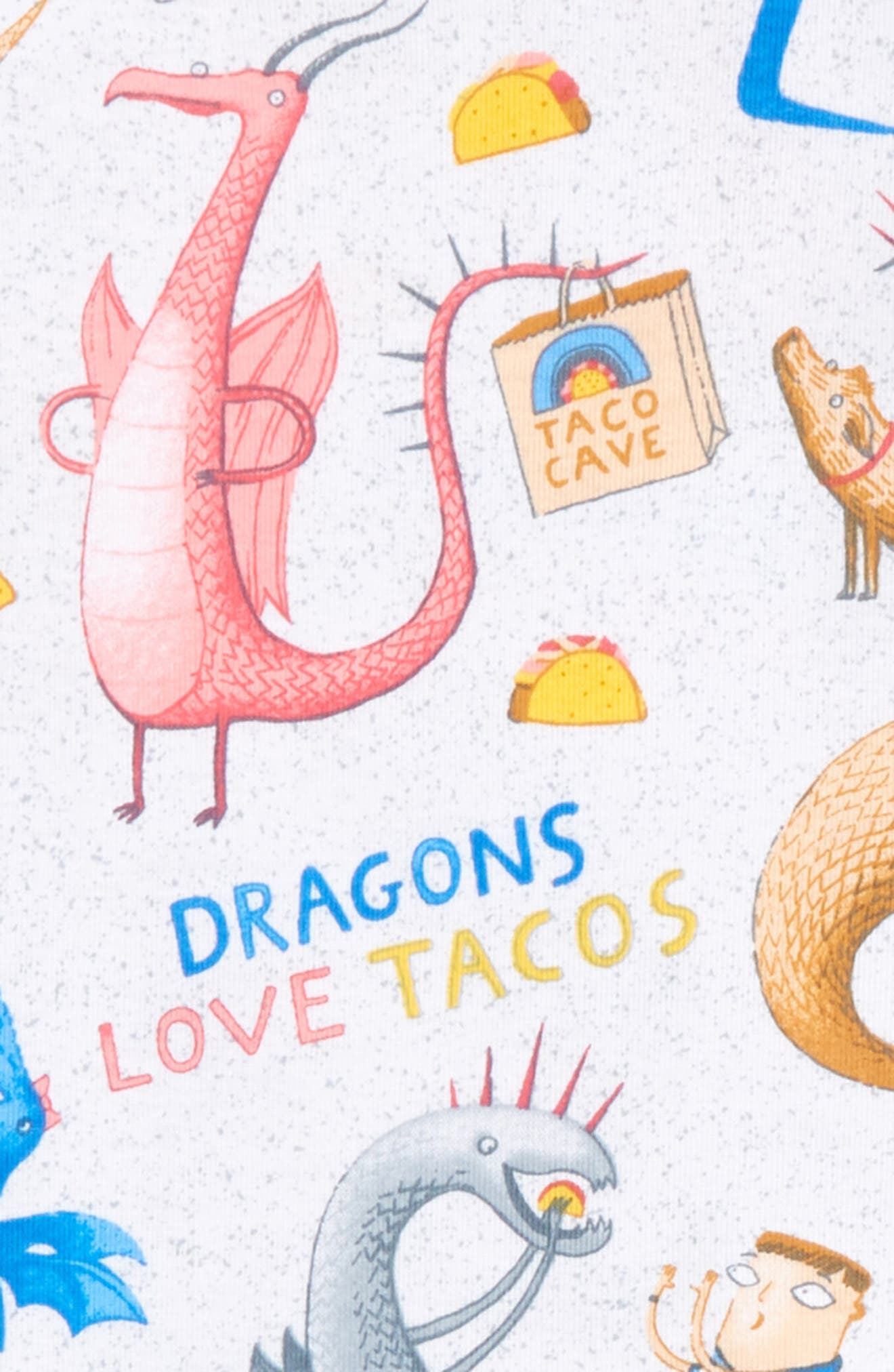 Dragons Love Tacos 2 Fitted Two-Piece Pajamas & Book Set,                             Alternate thumbnail 2, color,                             GREY