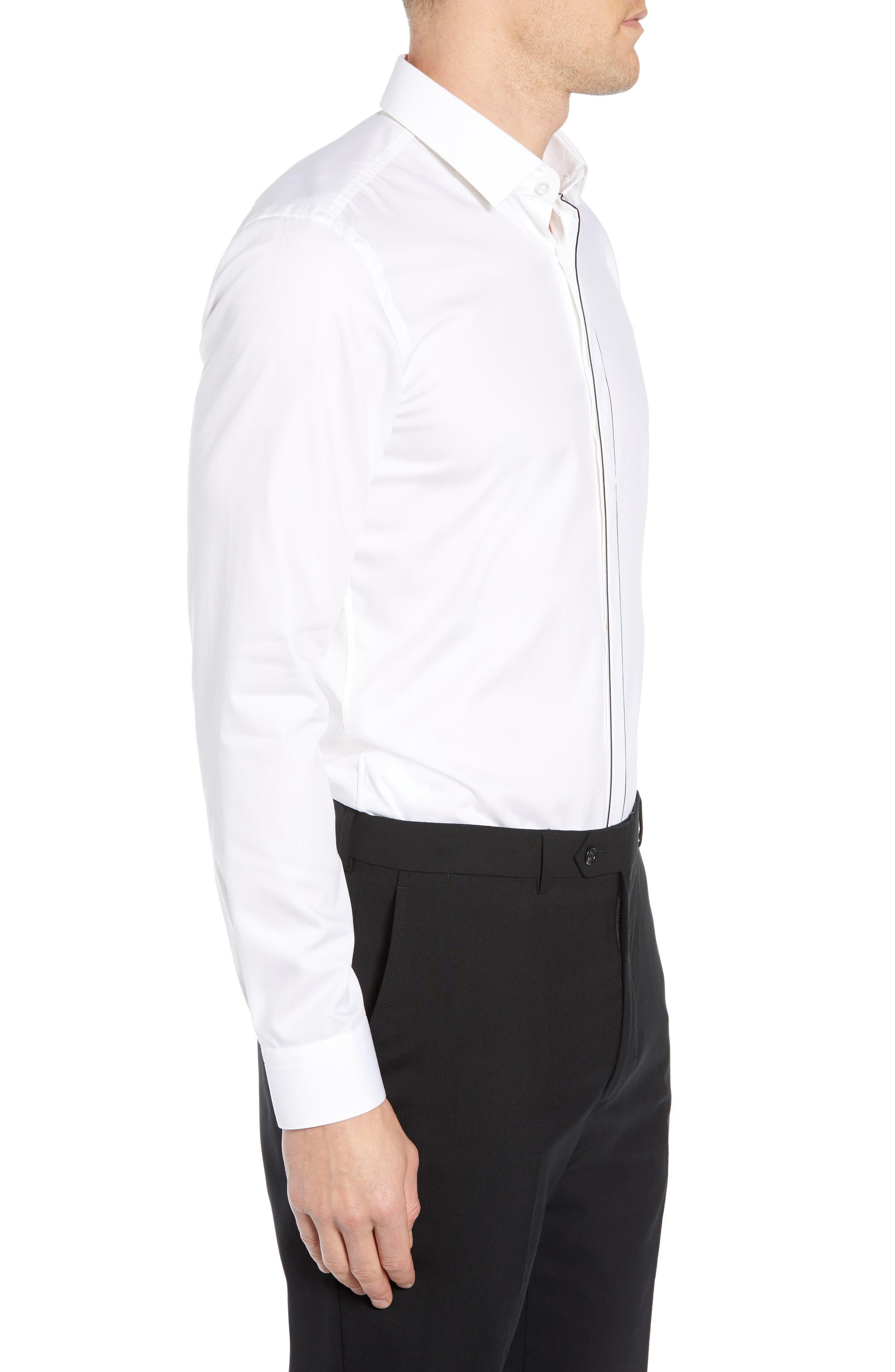 Jamir Slim Fit Easy Iron Solid Dress Shirt,                             Alternate thumbnail 4, color,                             100