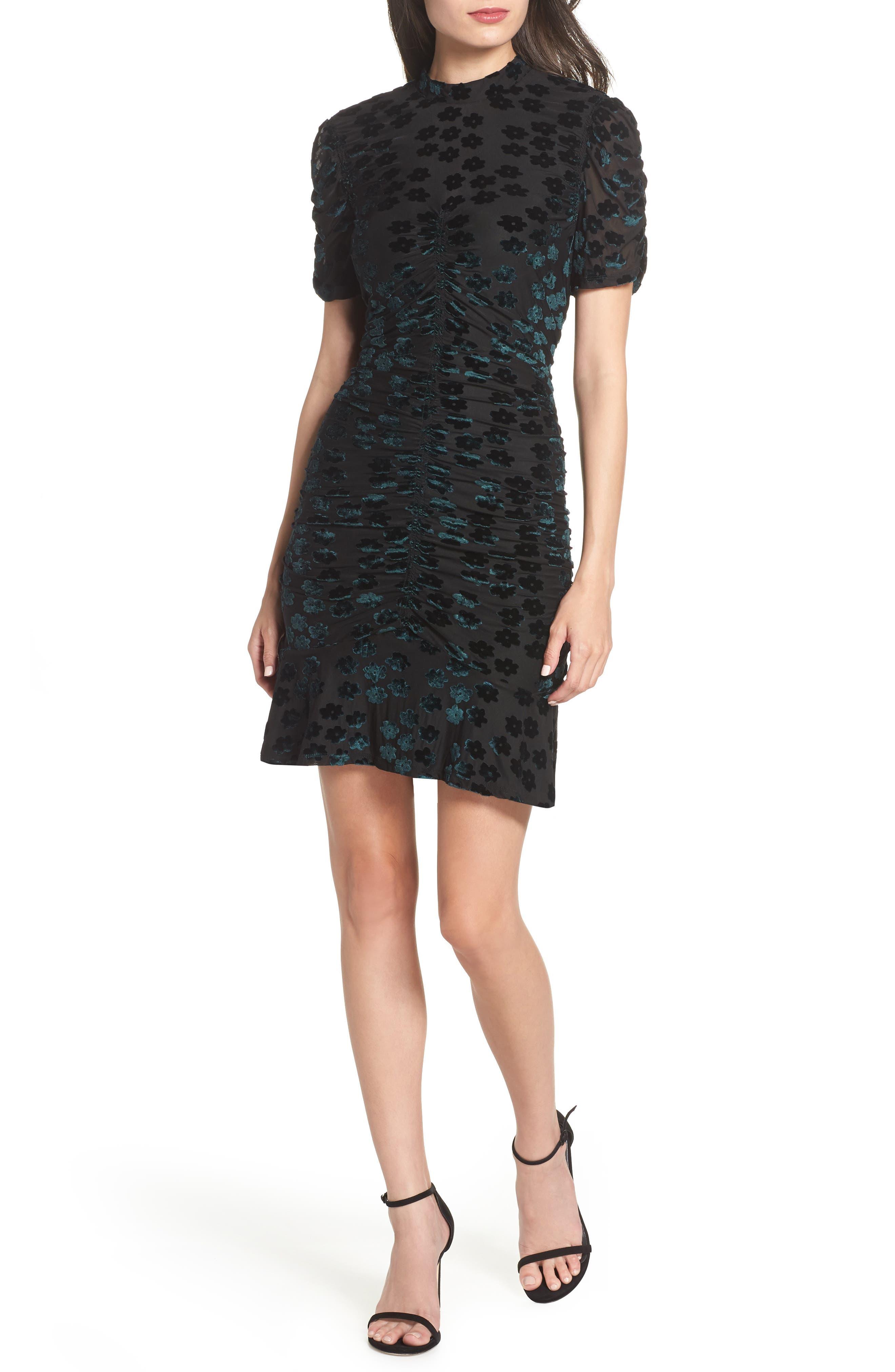 Chelsea28 Velvet Jacquard Sheath Dress, Black