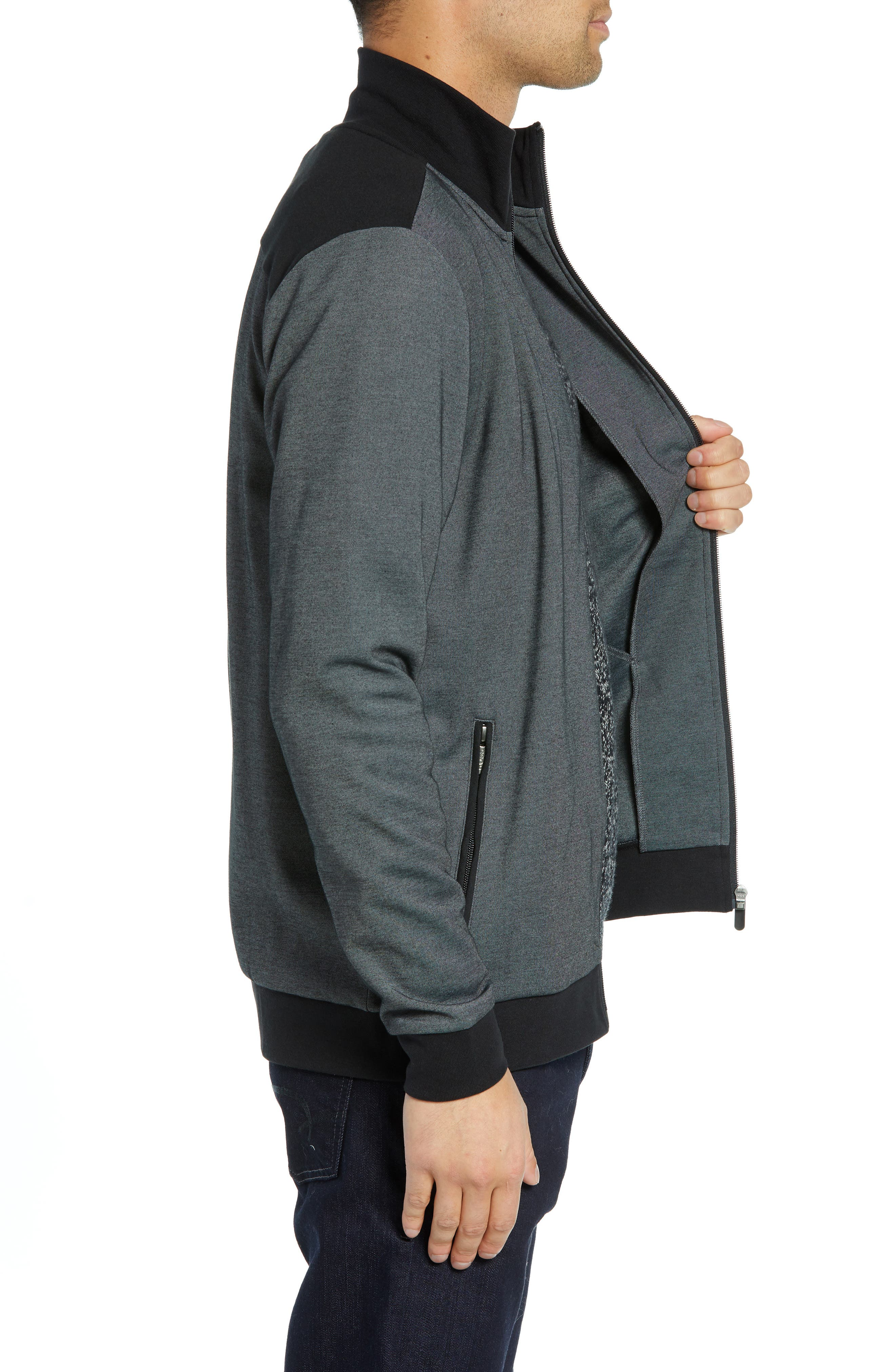 Cotton Blend Track Jacket,                             Alternate thumbnail 3, color,                             BLACK