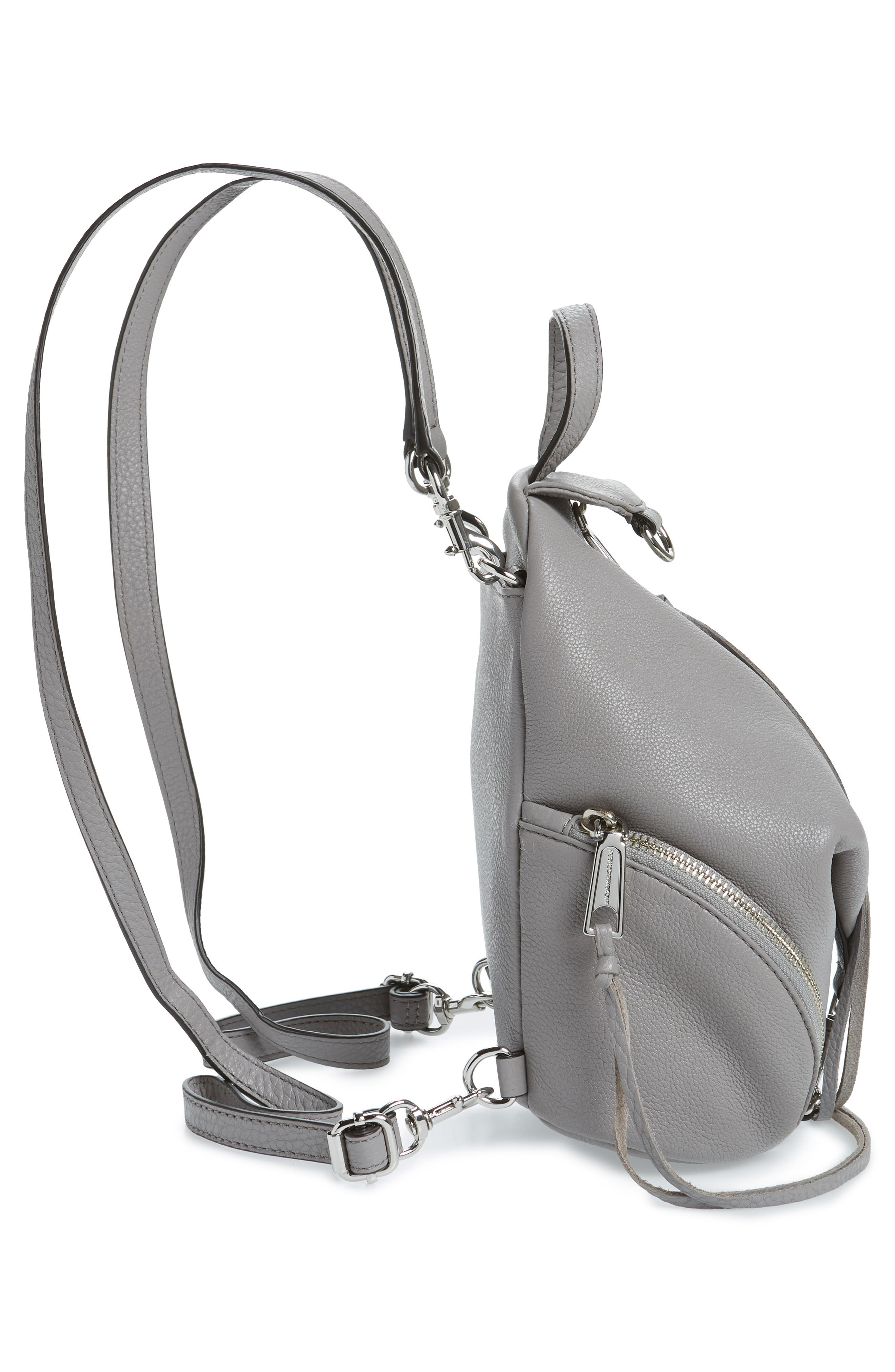 Mini Julian Pebbled Leather Convertible Backpack,                             Alternate thumbnail 5, color,                             GREY