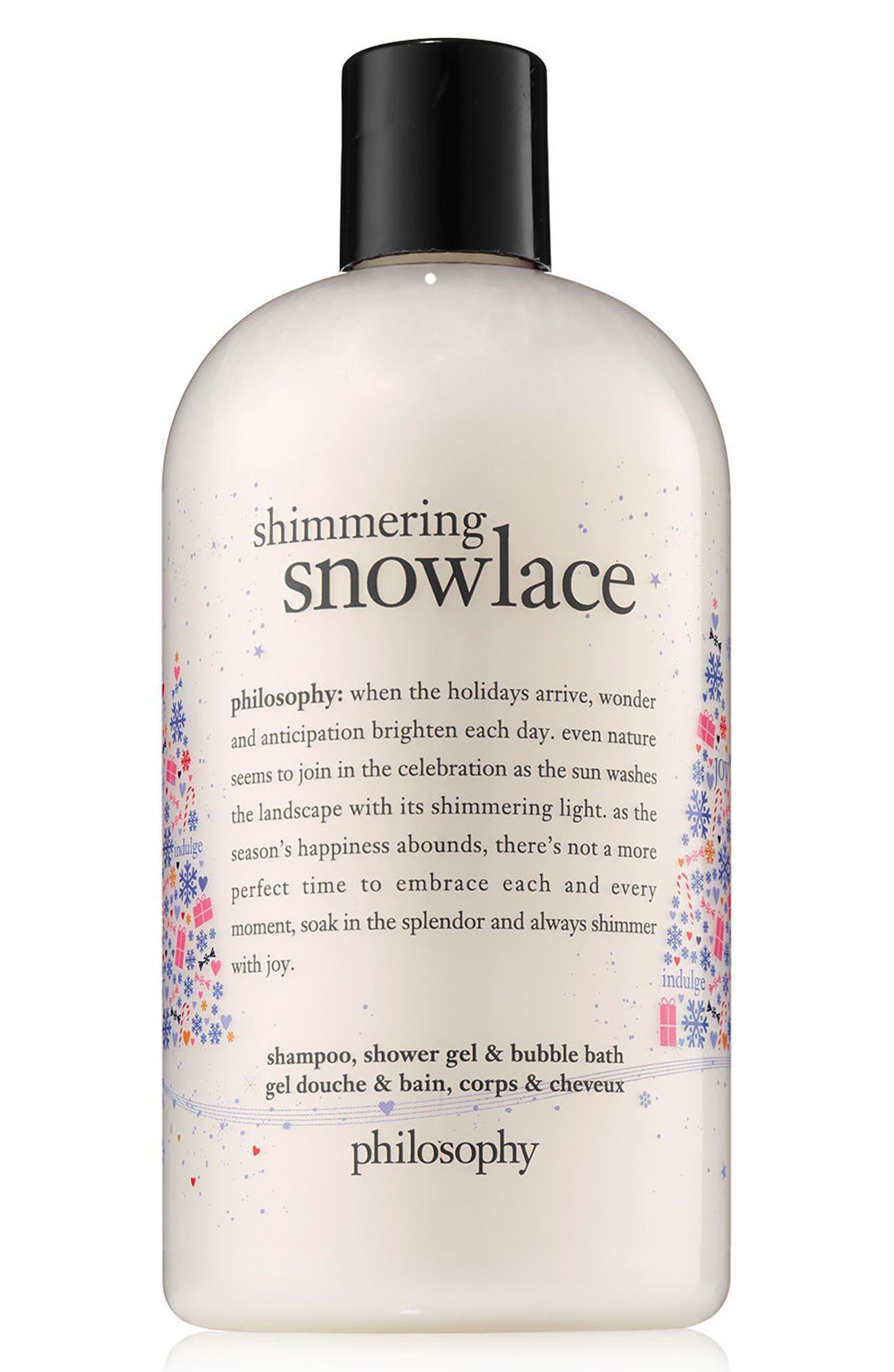shimmering snowlace shampoo, shower gel & bubble bath,                             Main thumbnail 1, color,